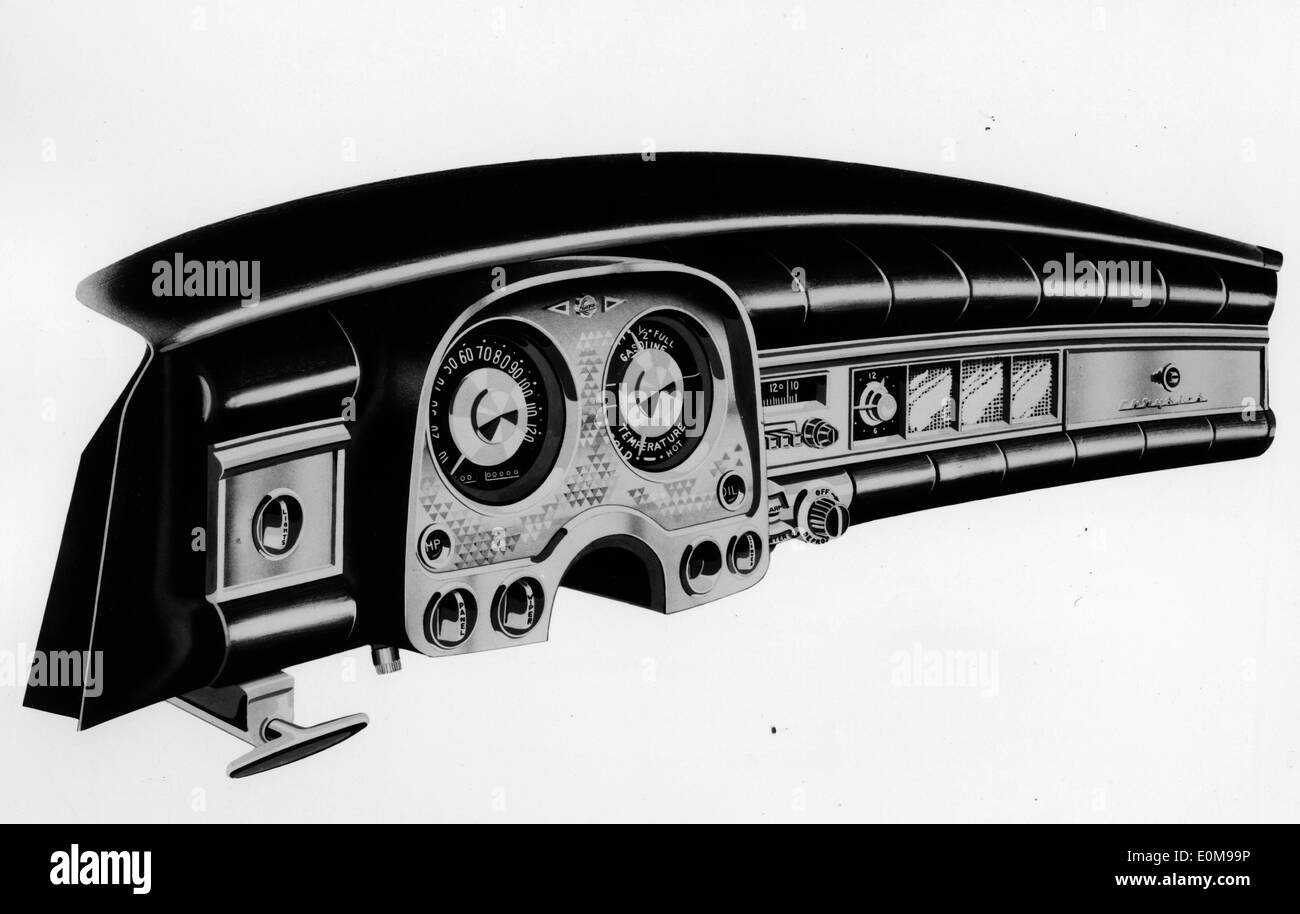 1954 Chrysler instrument panel - Stock Image