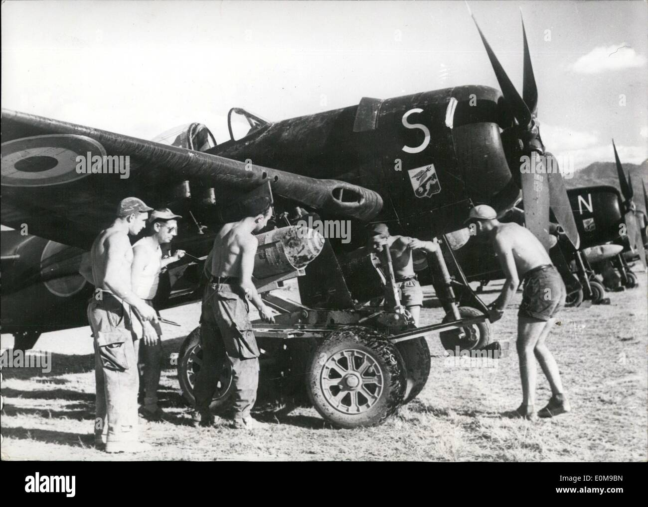 Mar. 03, 1954 - War in Indo-China: French light bombers about to take off from the Dien Bien Phu Aerodrome. Heavy fighting is going on that area. - Stock Image