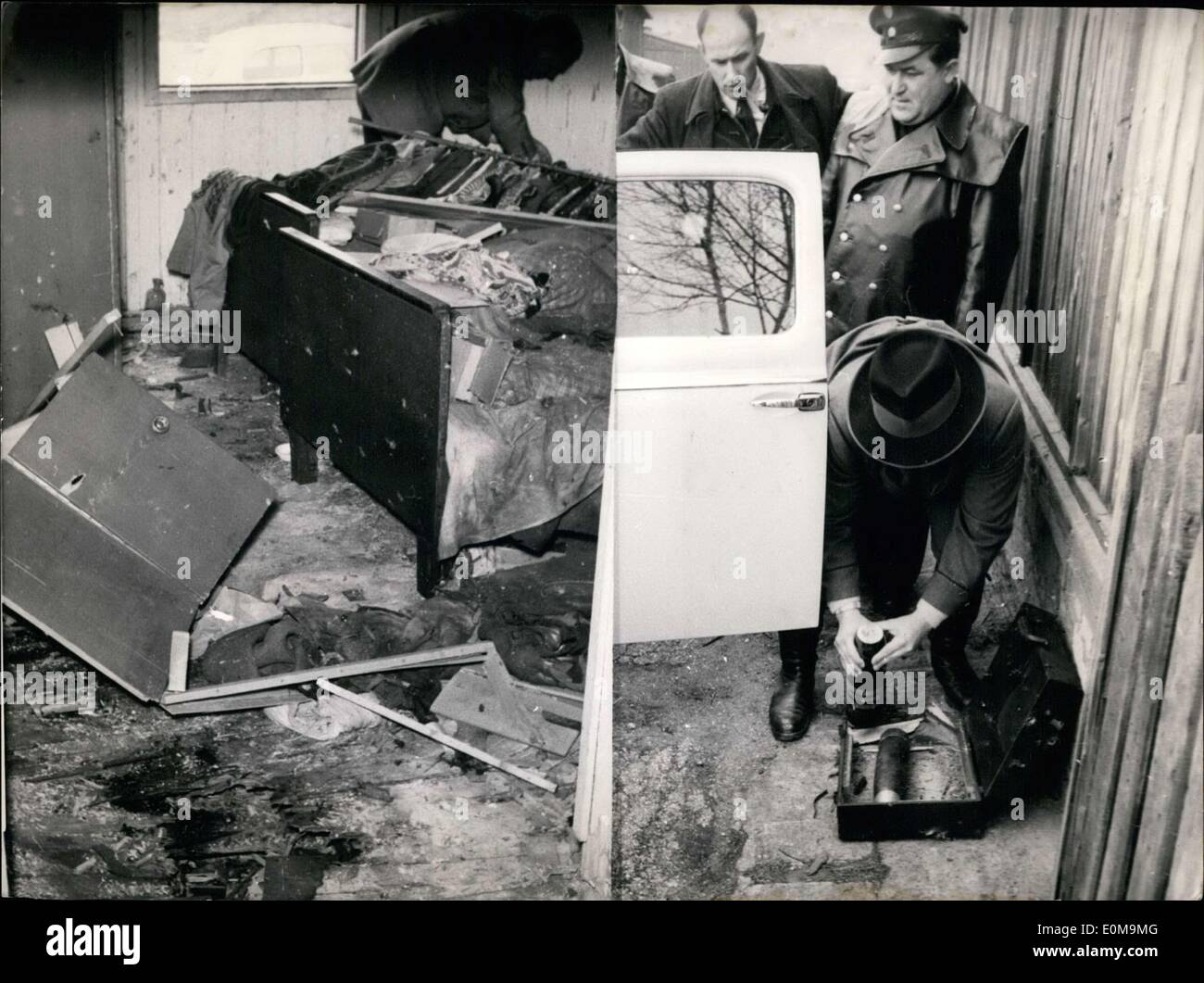 Apr. 13, 1954 - A mysterious shell bomb explosion in Nuernberg: A second time during the last six weeks a shell bomb explosion happened in Nuernberg. The 25 years old workless Horst Schlenk had a shell bomb in the room of his parents barack. Suddenly the shell bomb exploited. Horst Schrenk was torn into pieces a 13 years old boy who had been in the room besides was heavy wounded. Still another shell bomb was found in the same barrack. (picture right) - Stock Image