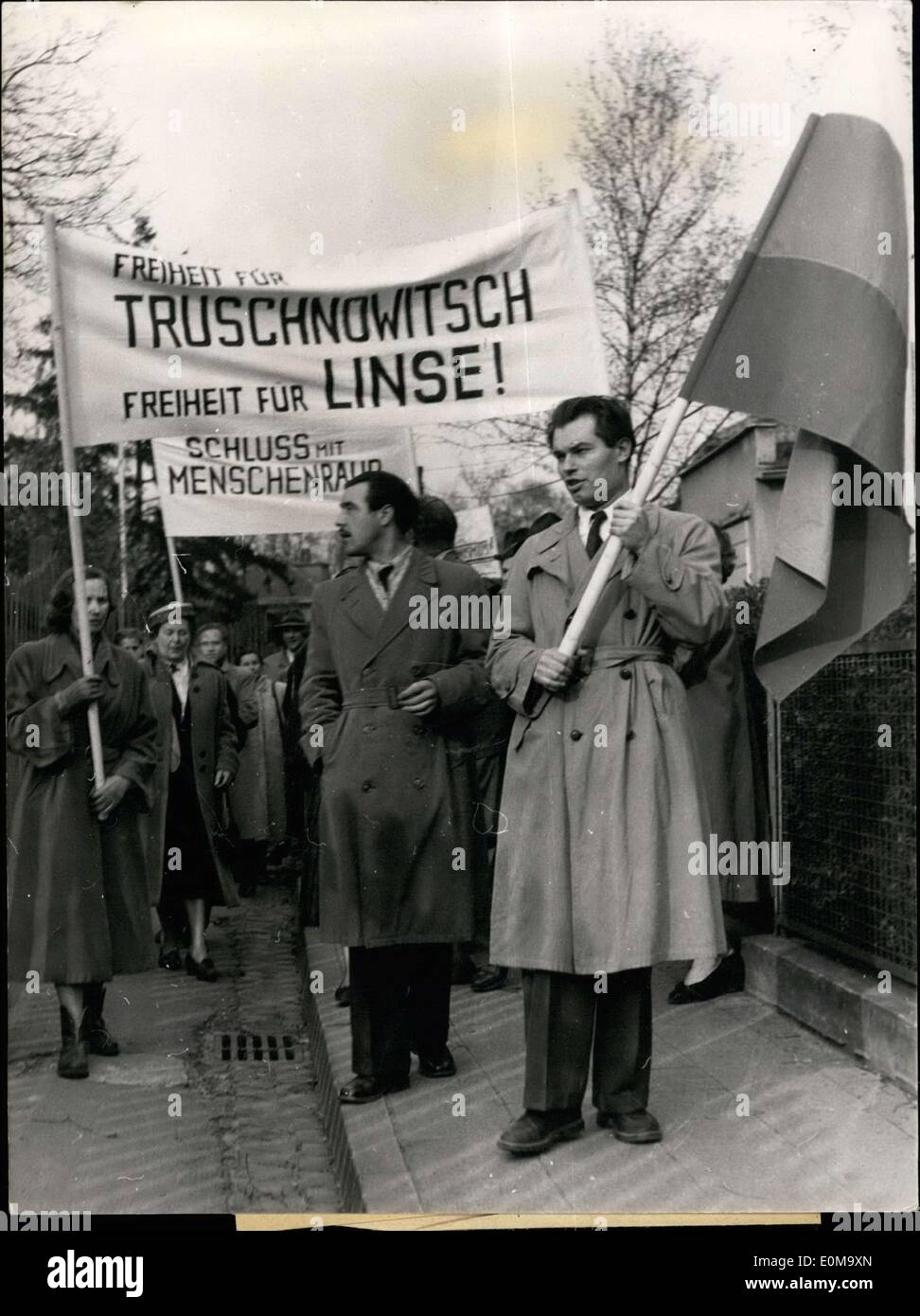 Apr. 17, 1954 - Put an end to abduction! Freedom for Truchnowitsch! Under this banner a protest rally against the abduction of the first chairperson of the Russian resistance movement NTS, Dr. Alexander Truchnowitsch, occurred this afternoon in Frankfurt am Main. Subsequently participants of this emigrant movement and numerous conventioneers trekked to the residence of the Russian military mission in FFM-Niederrad in order to demonstrate with pamphlets and banners against this egregious, new act of violence of the Soviets. - Stock Image