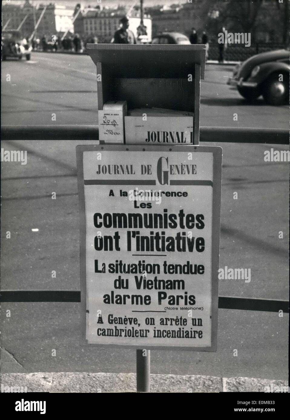 May 07, 1954 - Geneva Newspapers Dedicate Entire Issue Geneva Conference - Stock Image