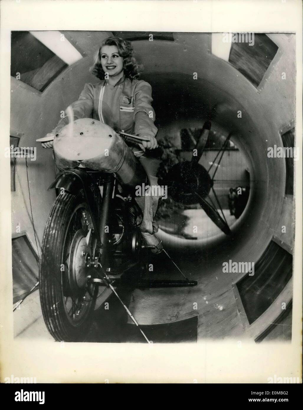 Jul. 19, 1954 - Italy's Moto Gizzi Cycle Company Completes Its Own Wind Tunnel: The Famous Italian Motor Cycle Company Moto Guzzi has just introduced the world's first wind tunnel - specially constructed solely for the testing of new motor cycle designs.. The company has pent millions of Lira in research in motorcycle cycle design. which they see will yield big dividends in the forthcoming world International Races - Stock Image
