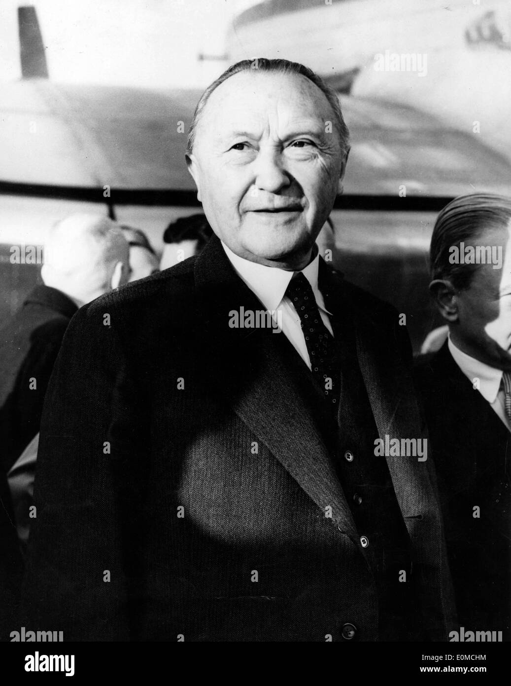 Dr. Adenauer arrives for Nine Power Conference - Stock Image