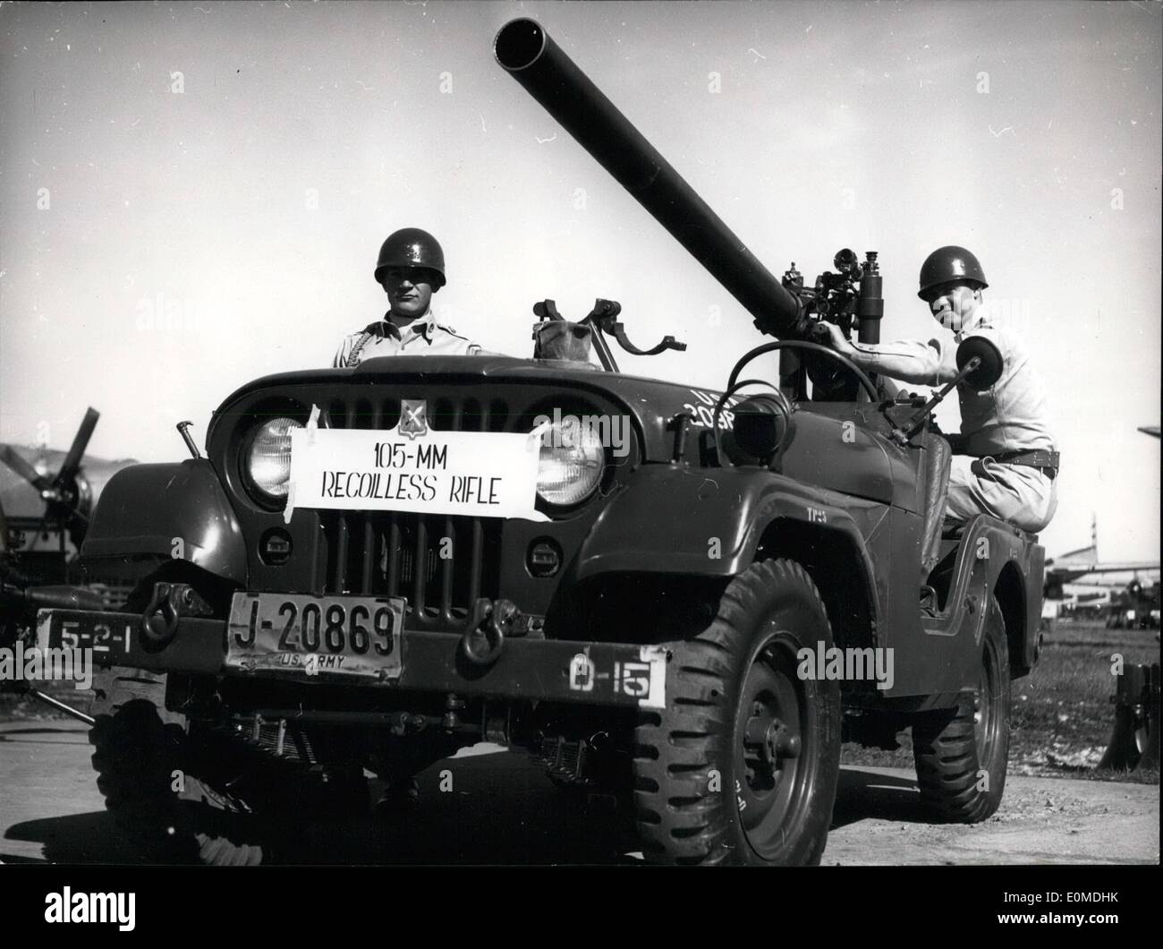 Sep. 09, 1954 - Free of repulsion. is this 10.5 cm gun fixed on a jeep. Till now it had been impossible to fix guns Stock Photo