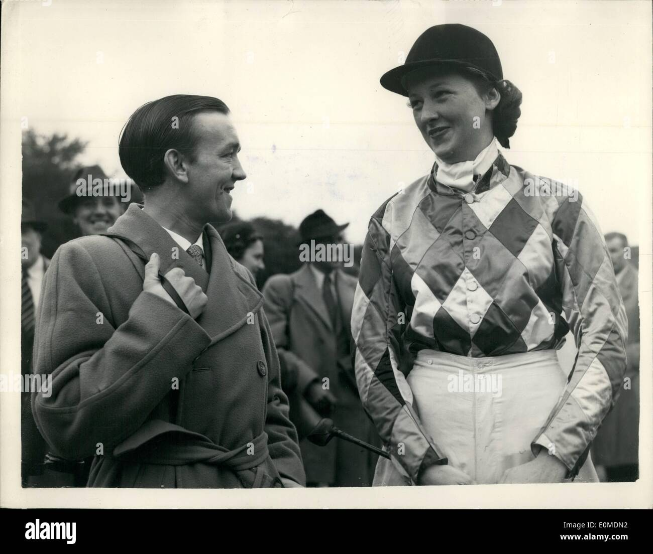 Oct. 14, 1954 - 14.10. 54 Newmarket Town Plate. Keystone Photo Shows: Jockey Nanny Mercer seen today with his fiancé, Stock Photo