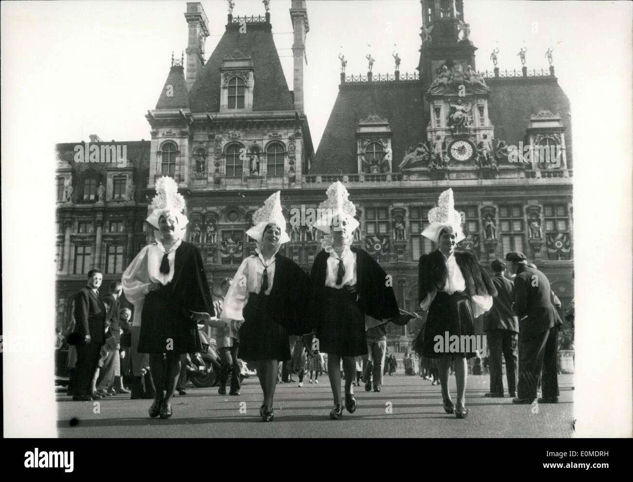 Oct. 31, 1954 - Folklore Parade at the Hotel de Ville - Stock Image