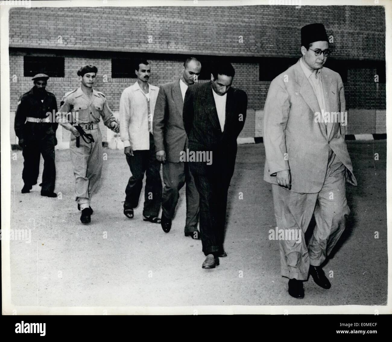 Nov. 11, 1954 - Round up of Members of the Muslim Brotherhood: Some members of the secret branch of the Moslem Brotherhood, seen on their way to a military prison in Cairo, after their arrest recently. It was this branch which, it is alleged,, had preprared plans for the assasination of all members of the Revolution Council and to eliminate 160 officers. - Stock Image
