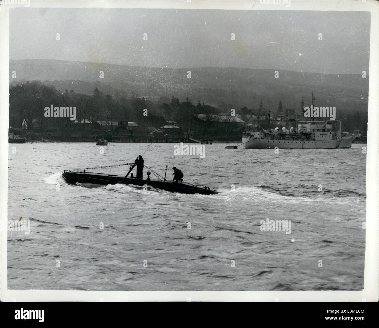Nov. 11, 1954 - The Navy's new ''Baby'' midget sub under trial in Scottish Waters. Photo shows the newest 'baby' of the Royal Navy a new five man midget submarine known as X-51 and which is 54 ft. long seen during her trials in the choppy waters of Scotland's Gareloch. The Submarine will soon be ready for service but much of her equipment performance etc. is still secret. - Stock Image