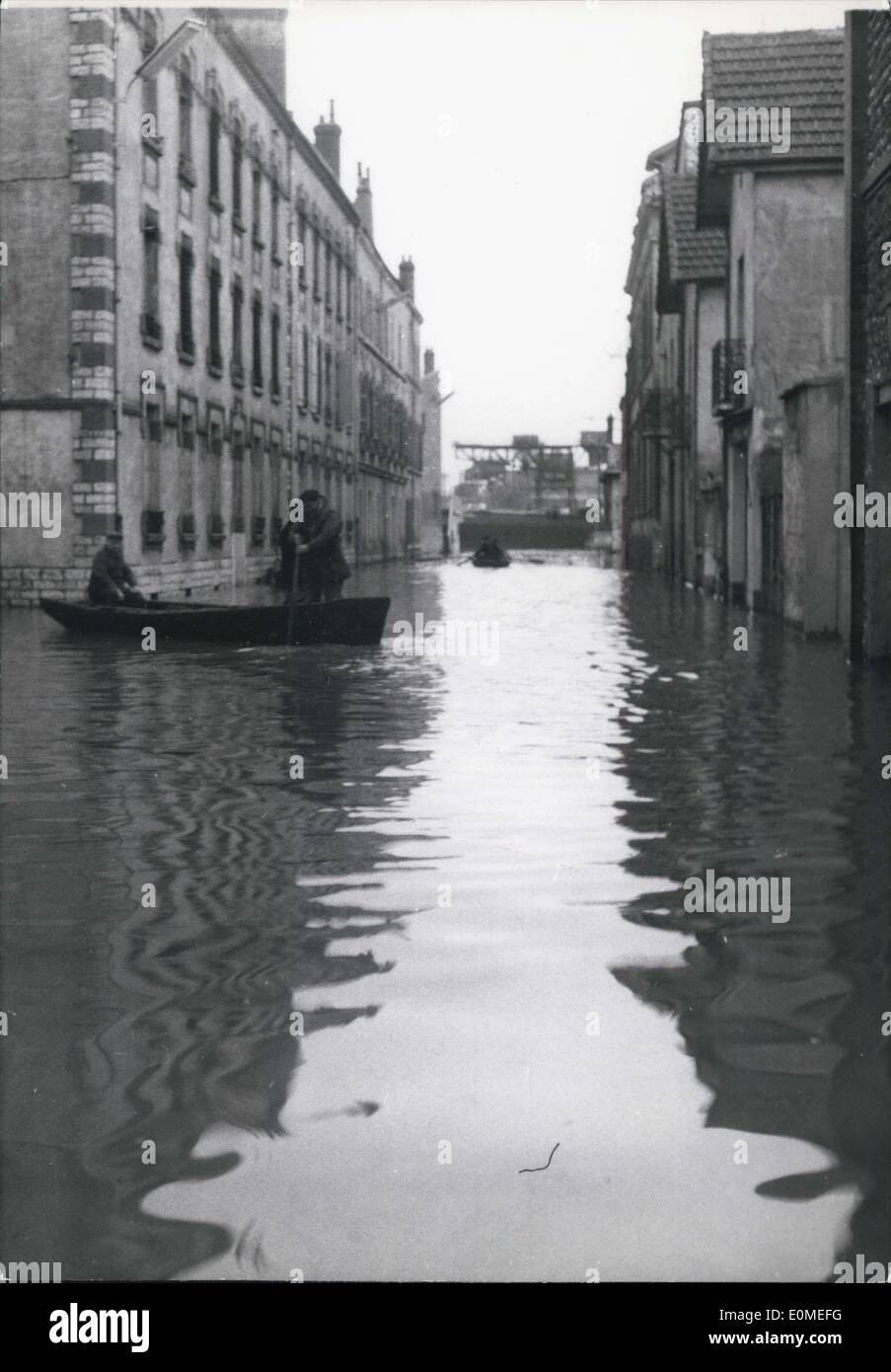 Jan. 23, 1955 - Floods in Paris. One of the Paris Suburbs completely flooded as a result of the Overflow of the seine. Inhabitants move about in boats. - Stock Image