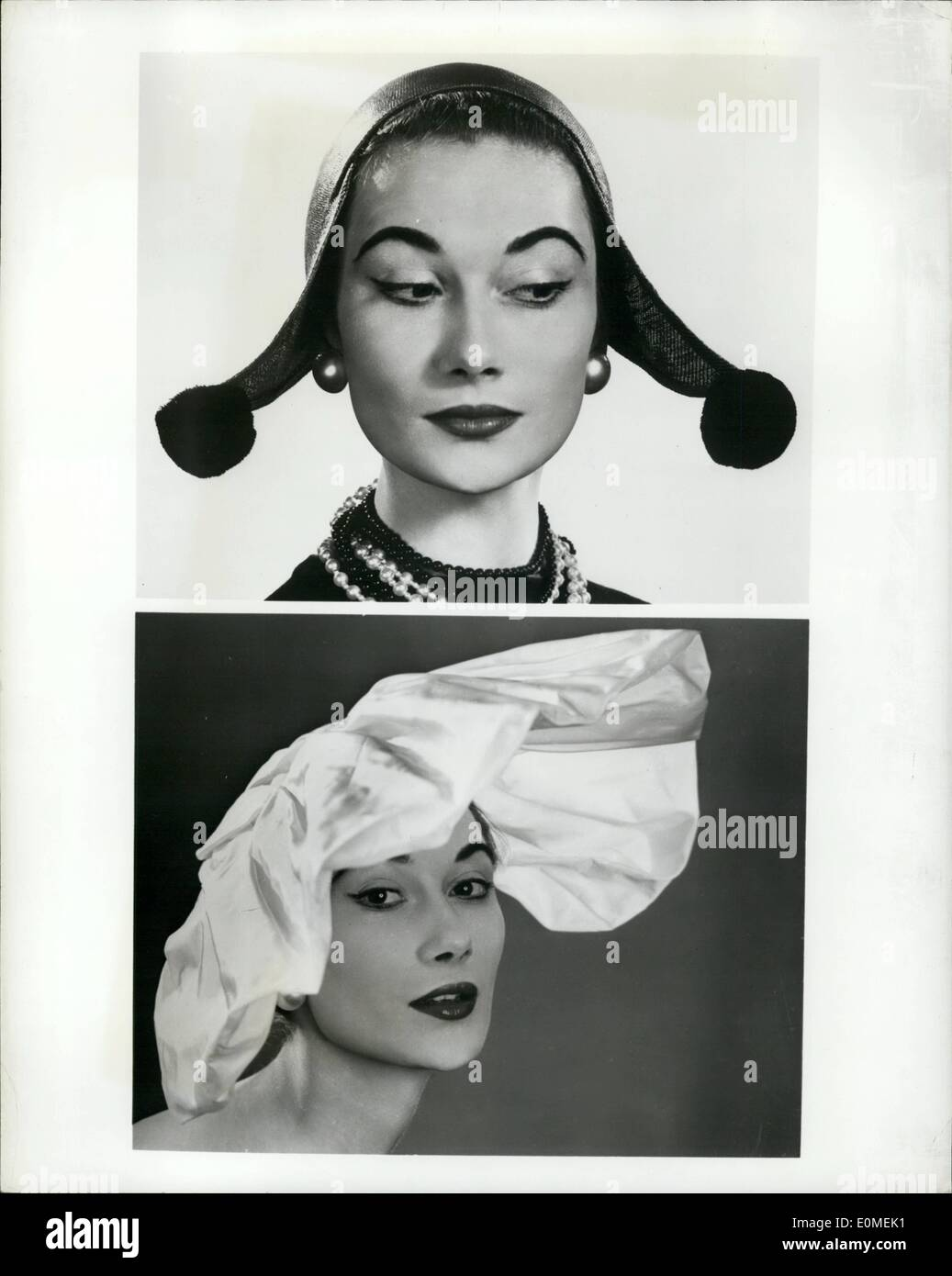 Feb. 02, 1955 - Spring is a heady business: Hats inspired by Dutch bonnets and others with enormous gathered taffets brims that - Stock Image