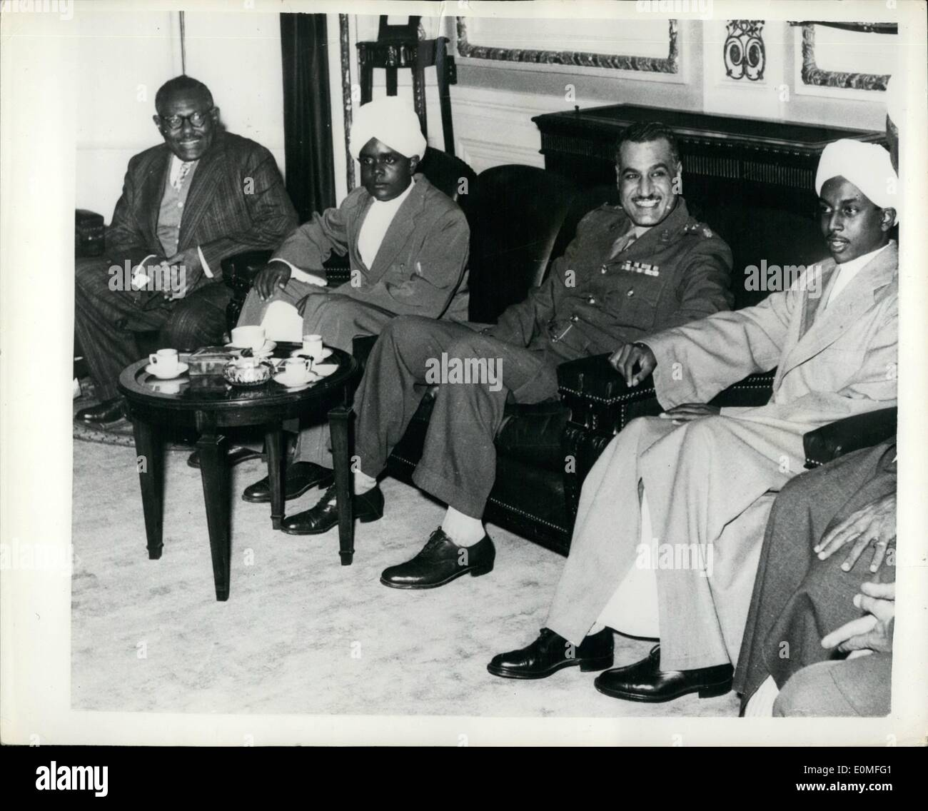 Dec. 12, 1954 - Sudanese Leaders visit Egyptian Premier: The Sudanese Prime Minister, Mtre. Ismail El Azhary, accompanied - Stock Image