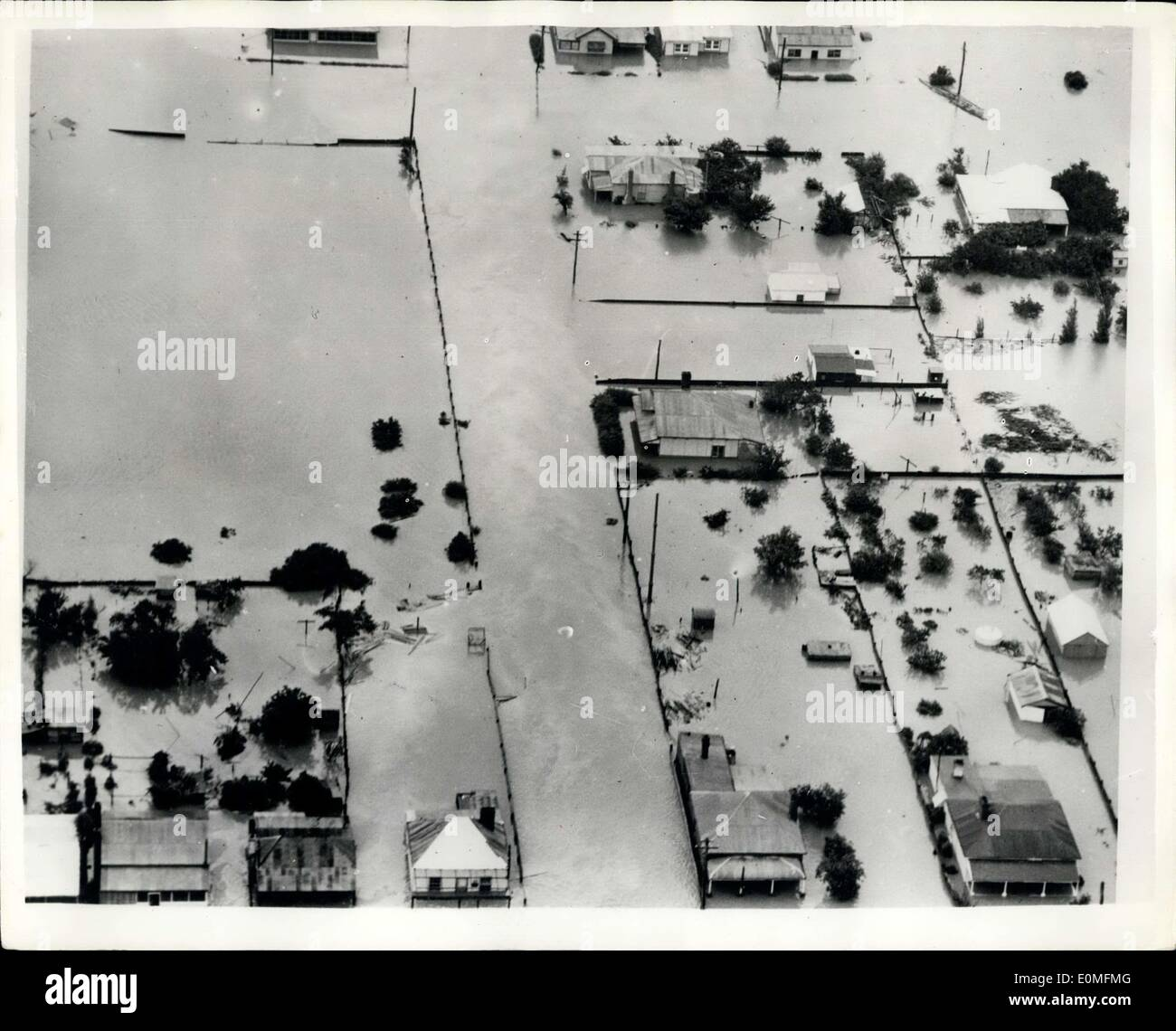 Mar. 03, 1955 - Disastrous Floods In New South Wales - Australia.: The scene from the air showing the desolation Stock Photo