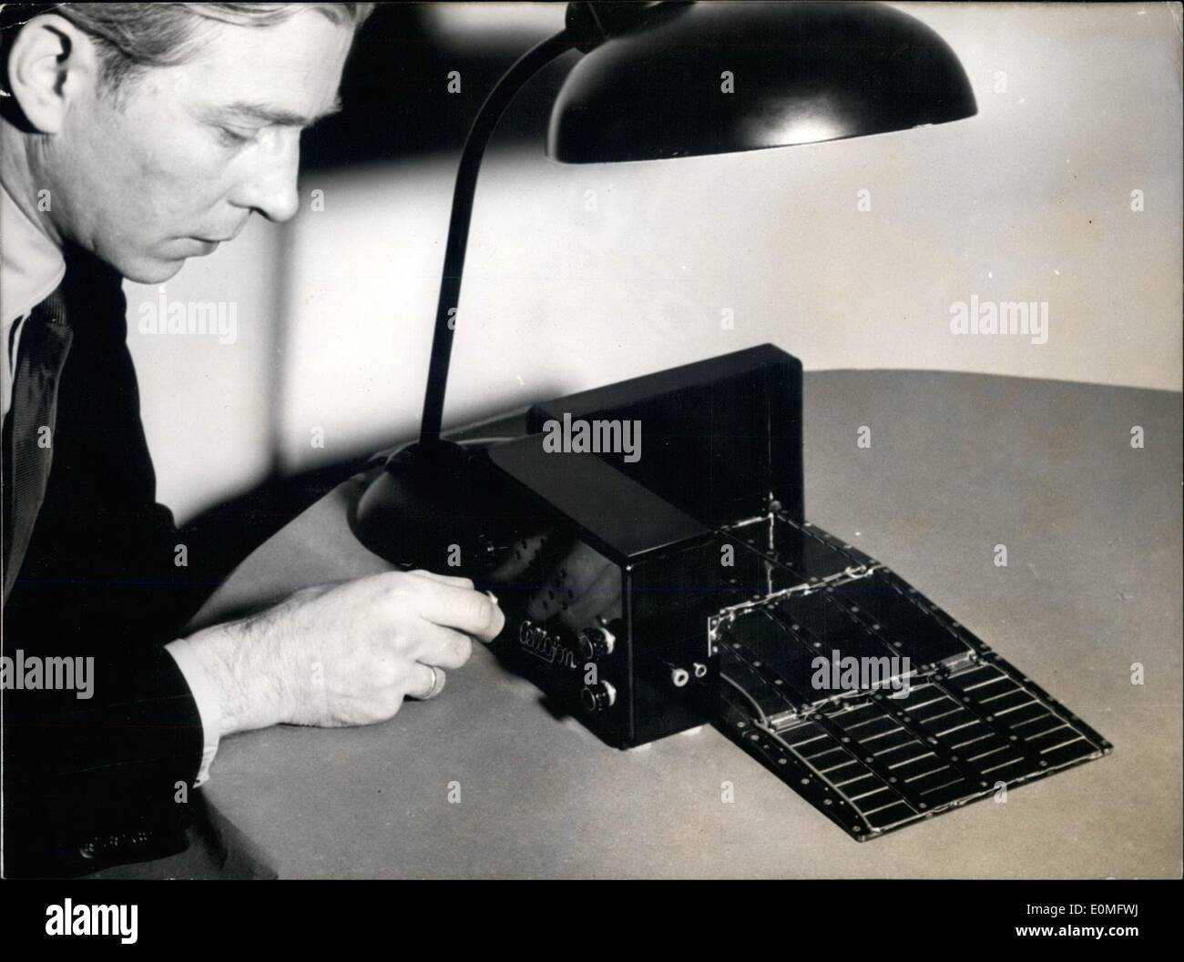 Jan. 01, 1955 - Music with light: The physician Otoo Faust our picture of the Berlin Electrocell-company constructed a new rad - Stock Image