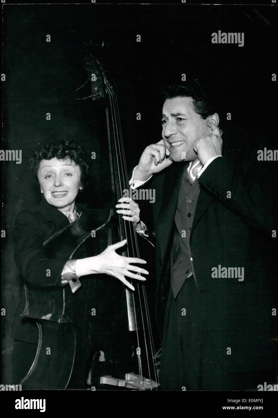Jan. 01, 1955 - Not So Loud, Edith!: Jacques Pilis, famous singer, and his famous wife, Edith Piaff, seem to have Stock Photo