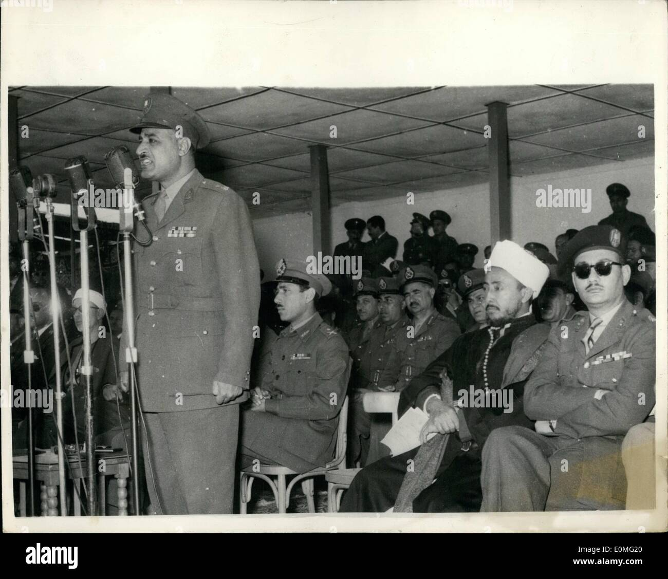 Mar. 03, 1955 - Egyptian Prime Minister attends ceremony at Shallufa Barracks: Prime Minister Gamal Abdel Nasser - Stock Image