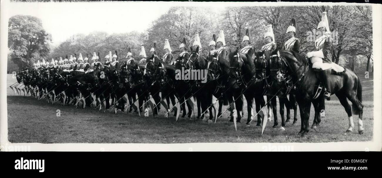 May 05, 1955 - HouseHold Cavalry Hold Full Dress REhearsal of Musical Ride: The Household Cavalry this morning held Stock Photo