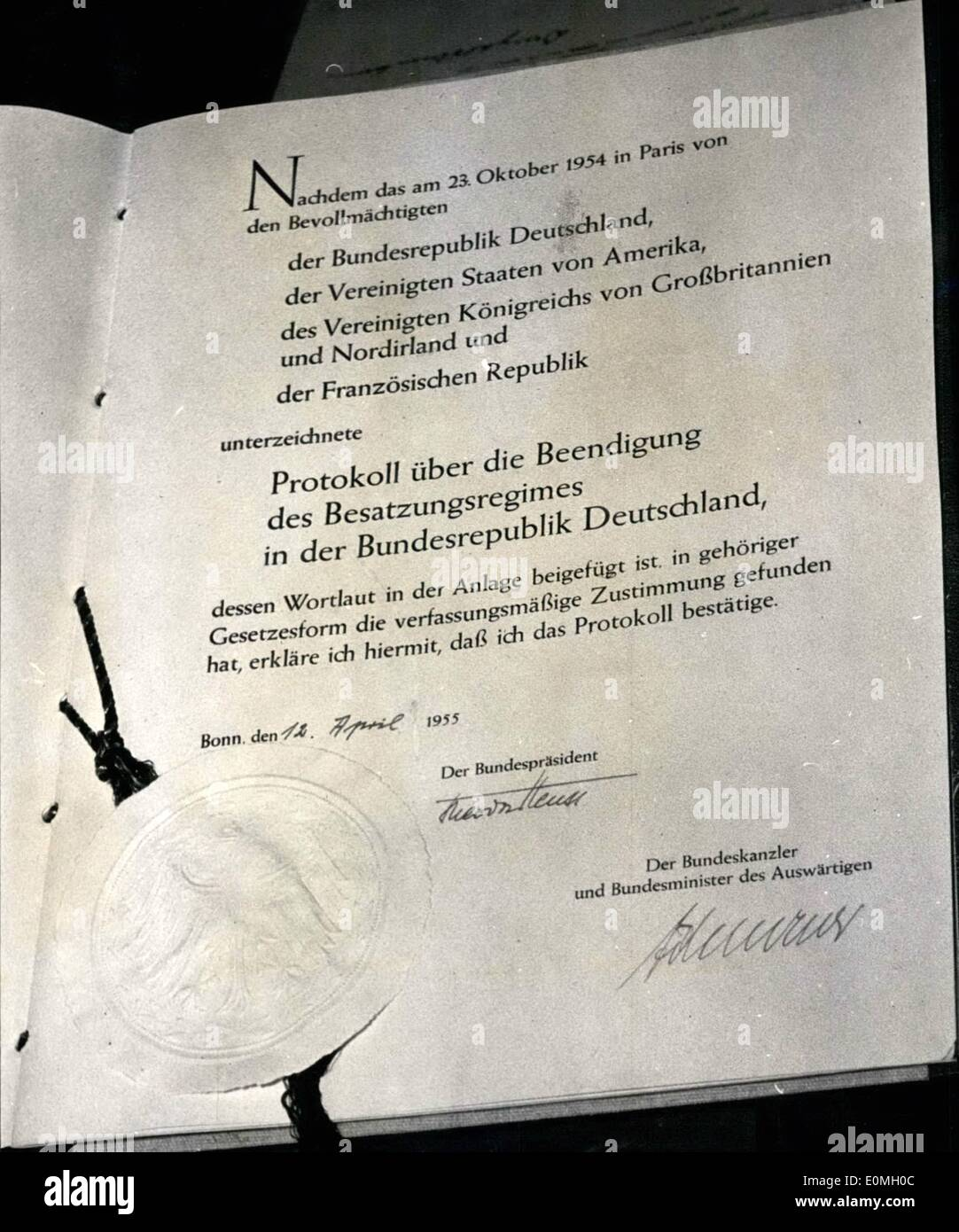 Apr 04 1955 Usa France And Germanys Sealed Proposition This