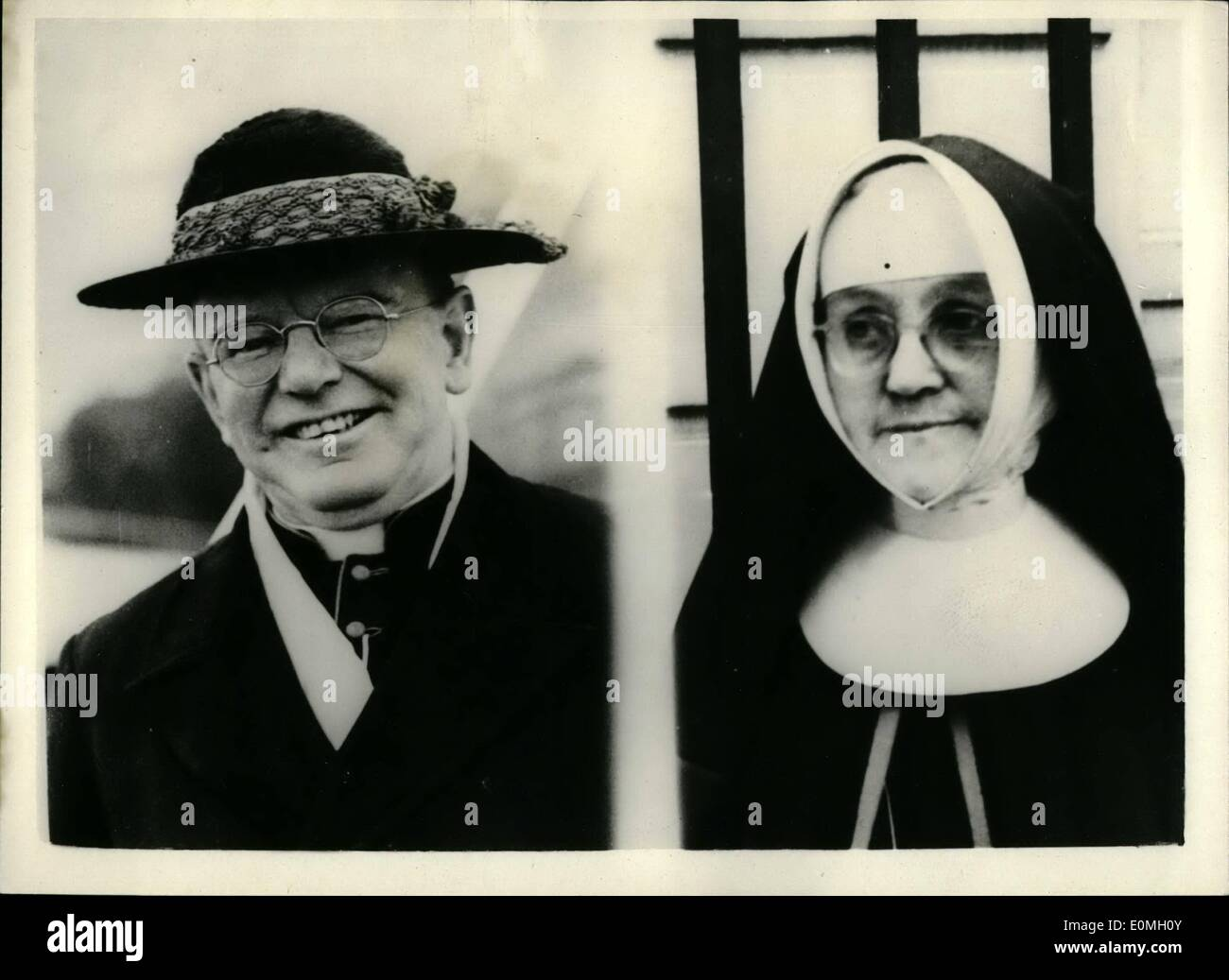 Jul. 07, 1955 - Nun Sue Cardinal Griffin Says ''I was Locked Up''... Alleges False Imprisonment and Assault. Miss Margaret McCann, 54 year old Nun who became a member of the Sisters of Nazareth in 1924, claimed damages in the Queen's bench division today, alleging false imprisonment and assault. Miss McCann's complaint was that she had been looked up in a mental home when there was no justification for suggesting that she had and unsoundness mind. Miss McCann is sueing Miss Winifred Collins, representing St - Stock Image