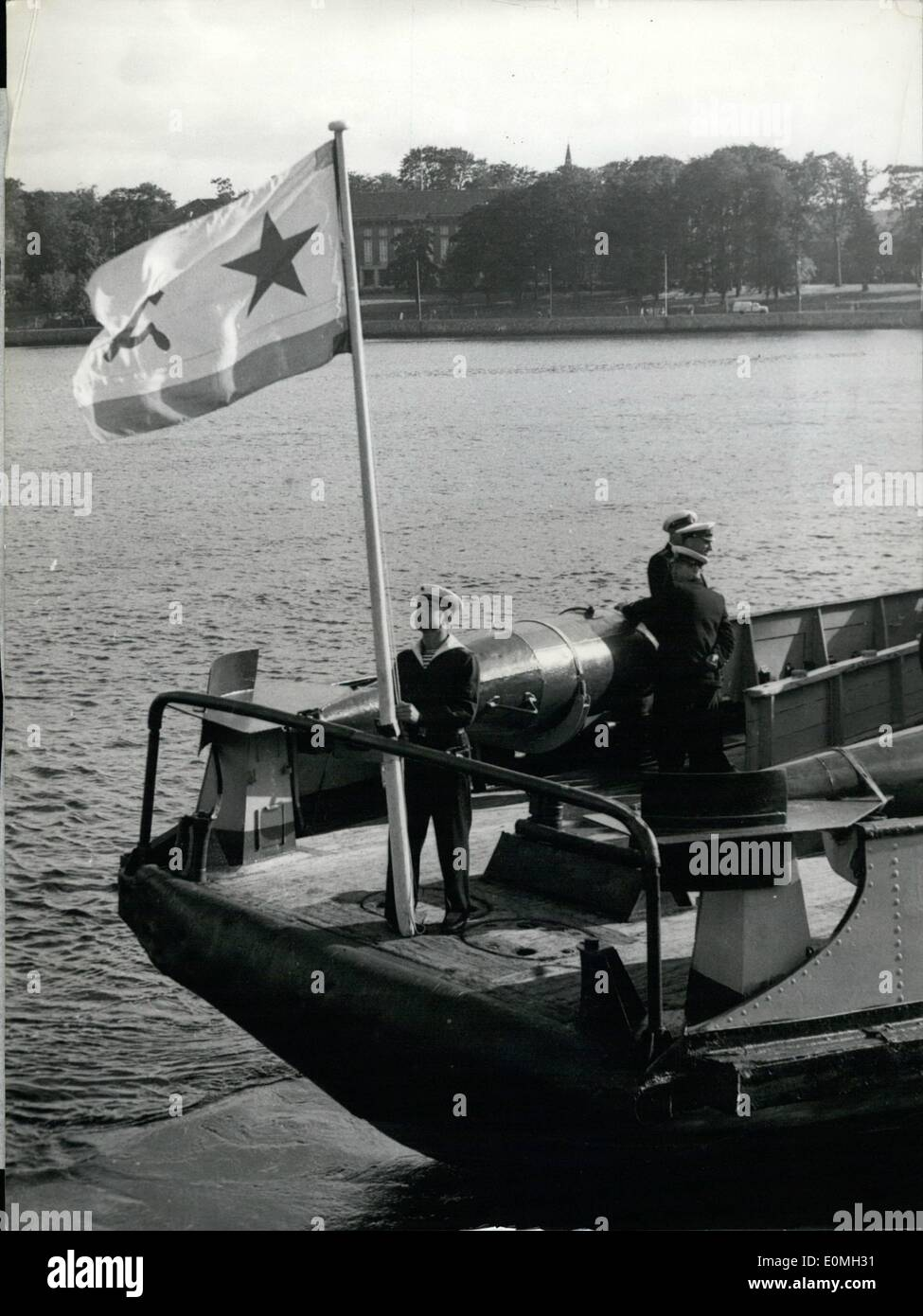Jul. 07, 1955 - Lent-ships return from Russia to USA: 14 ships, which had been lent to the Soviet by USA during world war II., were returned by the Soviets on saturday at Kiel/Germany. Photo shows the hauling in of the Soviet-flag. - Stock Image