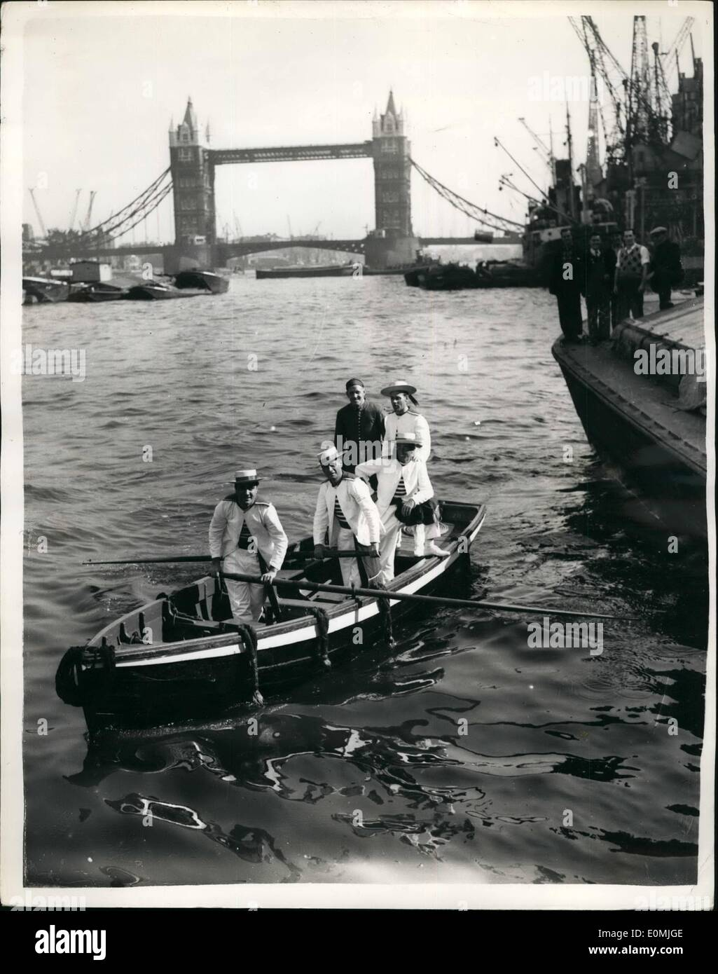 Sep. 09, 1955 - Venetian Condoliers in London: The party of four of Venice's most famous condeliers, who arrived in London last - Stock Image