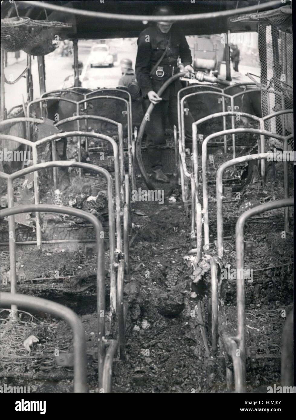 Jun. 11, 1955 - An omnibus from Holland loaded with children suddenly went up in flames. Two children were killed and 19 more were injured, 7 life-threateningly so. Pictured is the inside of the bus, completely burned. Stock Photo