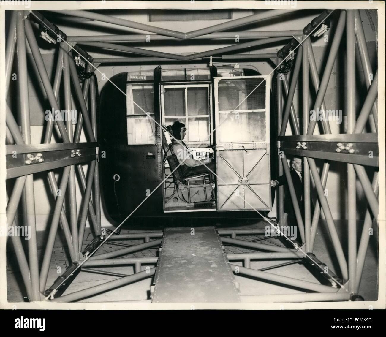 Jul. 07, 1955 - ''Man carrying Centrifuge'' at Farnborough, most modern in Europe cost 50,000 to Produce; The man Stock Photo