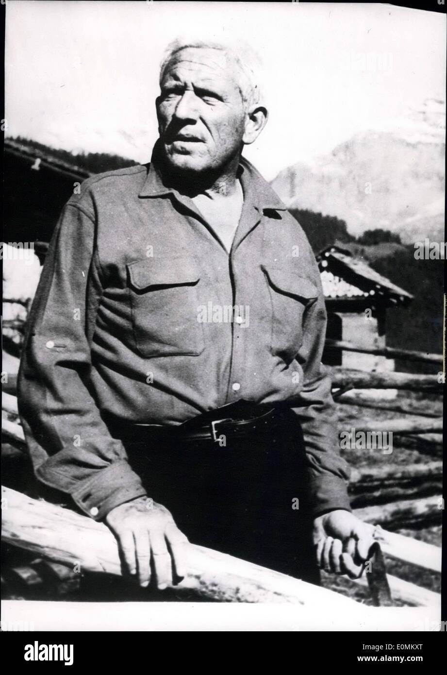 Oct. 10, 1955 - Spencer Tracy, Mountain Guide: In the Vistavision And Technicolor Picture ''The Mountain'' Which Is Now Shot In - Stock Image