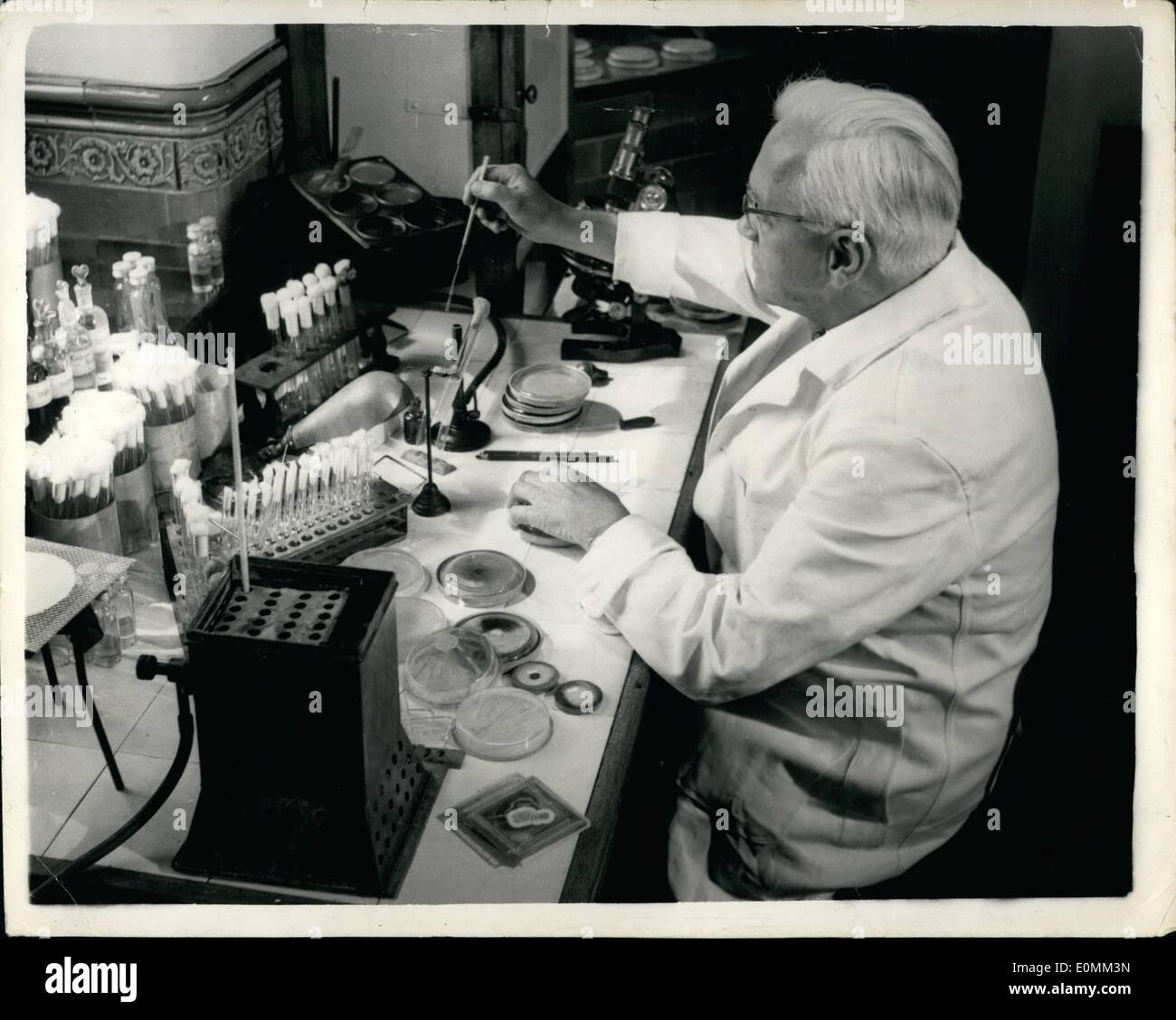 Nov. 11, 1955 - Penicillin Pioneer Dies - Sir Alexander Fleming Has Sudden Heart Attack. Sir Alexander Fleming, - Stock Image