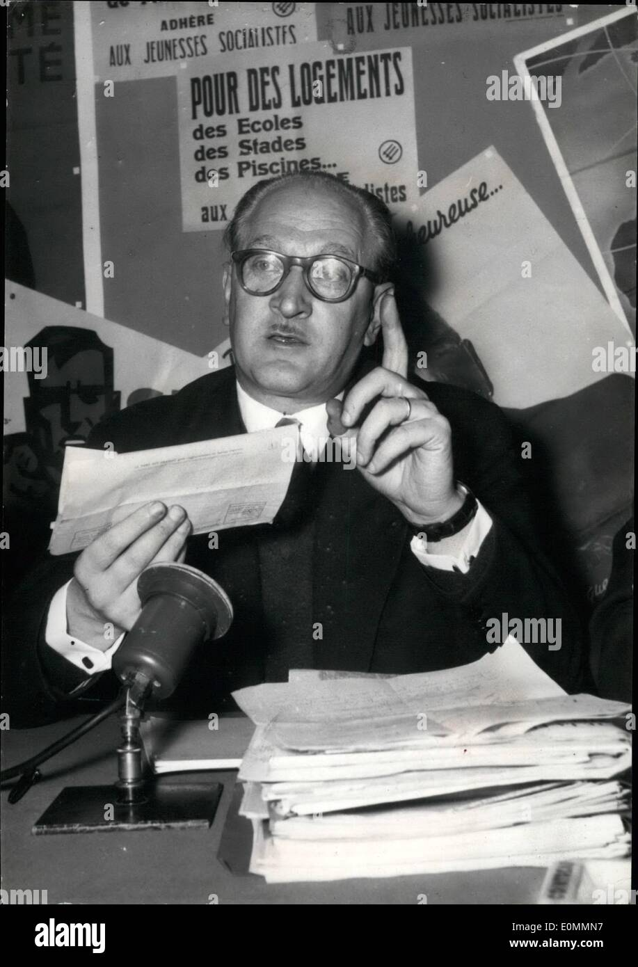 Dec. 12, 1955 - Election Campaign in Full Swing - Political Leaders of Different French Parties Have Launched the Election Campaign OPS : Guy Mollet, Leader of the Socialist Party, During His Press Conference This Morning - Stock Image