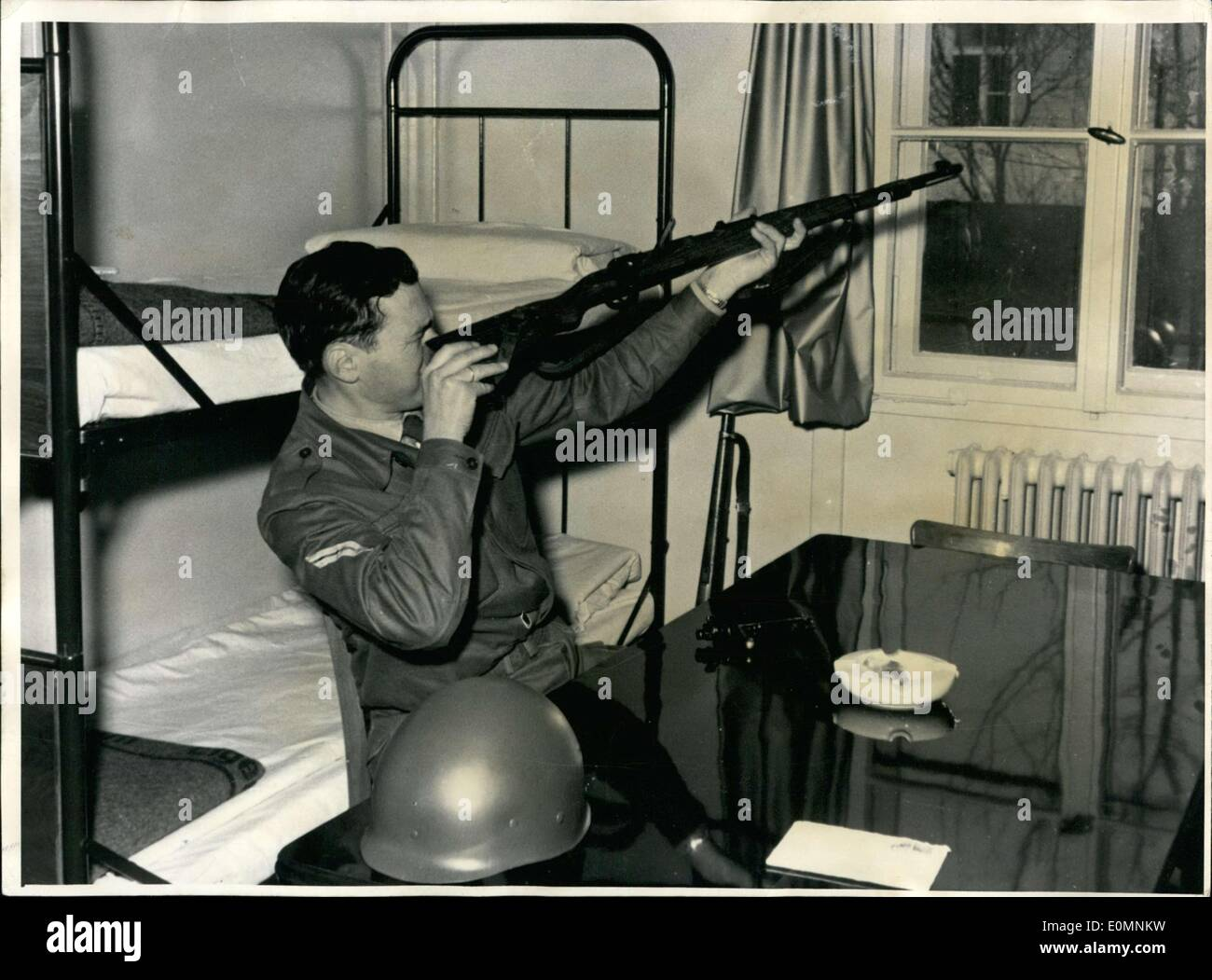 Jan. 02, 1956 - German Soldier with Carbine 98 K. - Stock Image