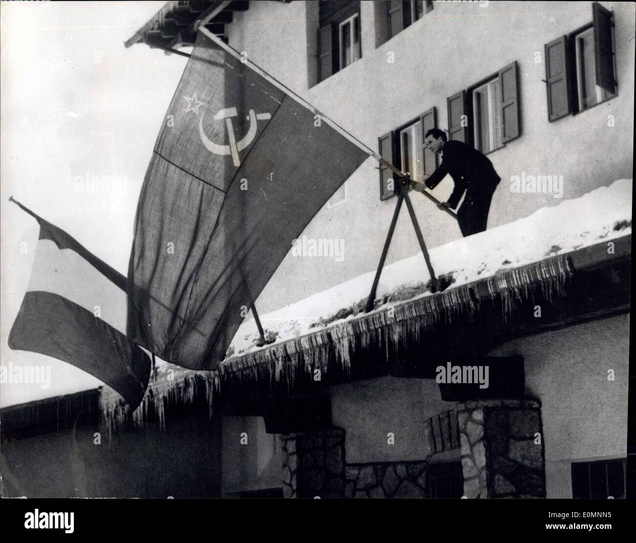 Jan. 17, 1956 - The Soviet Flag over the streets of Cortina, Italy - ready for the Winter Olympics. - Stock Image
