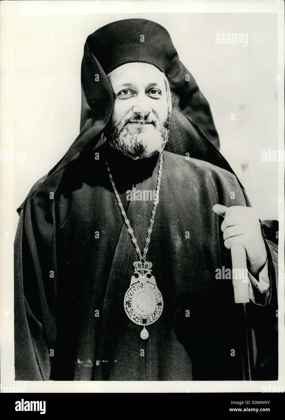 Mar. 28, 1956 - 28-3-56 Bishop of Paphos considered to be successor to exiled Archbishop Makarios in Cyprus. Bishop Photios of Paphos arrived in Athens recently from Egypt where he claimed he had gone on a confidential mission . The Bishop had talks with members of the Greek government but said he did not know if he was staying in Athens or going to Cyprus later. He told the press that the return from exile of Archbishop Makarios, although he is claimed as the 'successor to Makarios, Bishop Photios said Nobody could succeed the exiled Bishop - Stock Image