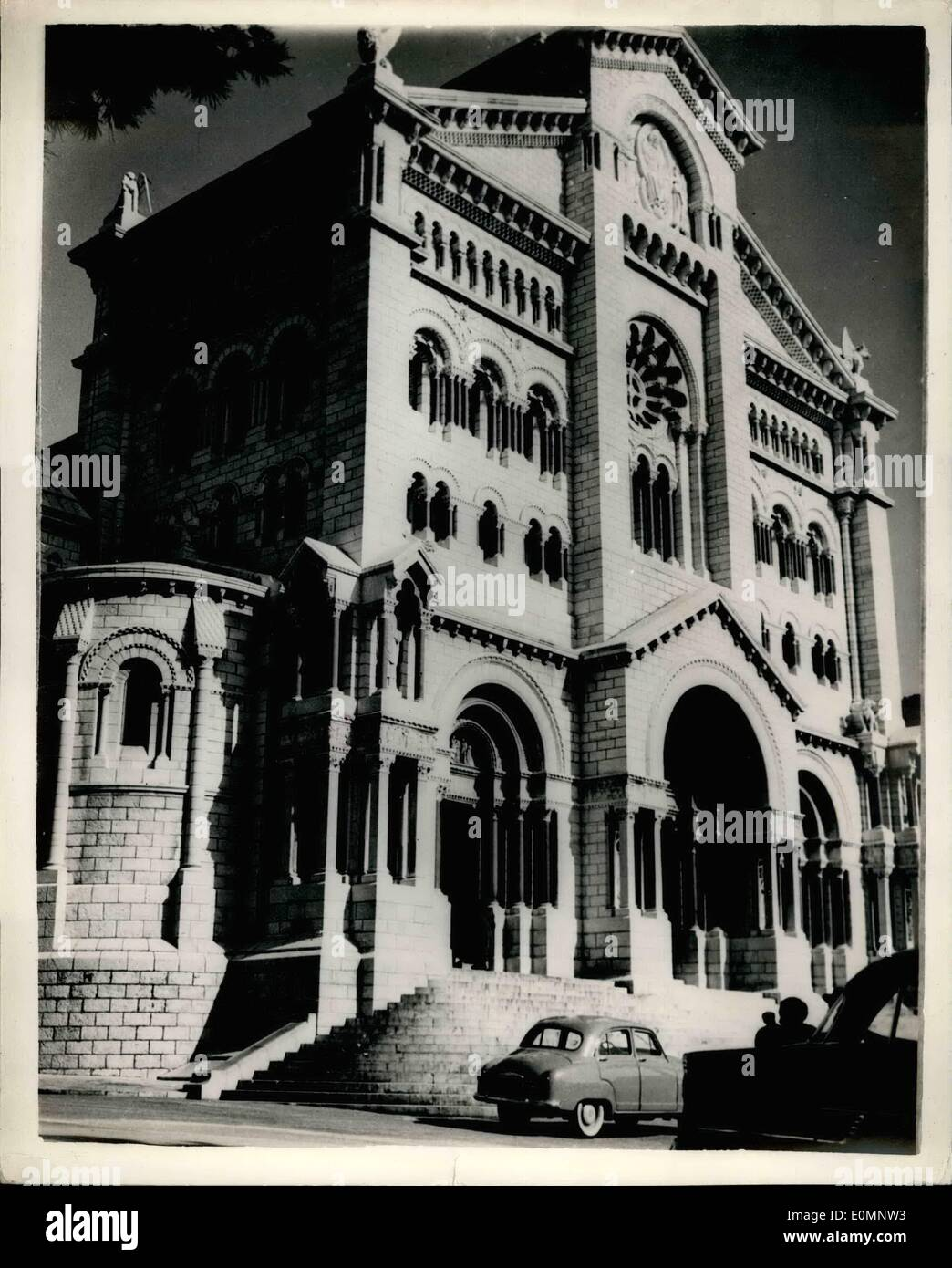 Apr. 04, 1956 - Monaco prepares for the Royal Wedding. View of the Cathedral: Photo shows view of Monaco Cathedral where the wedding of Prince Ranier and Grace Kelly will be held on April 18th. - Stock Image