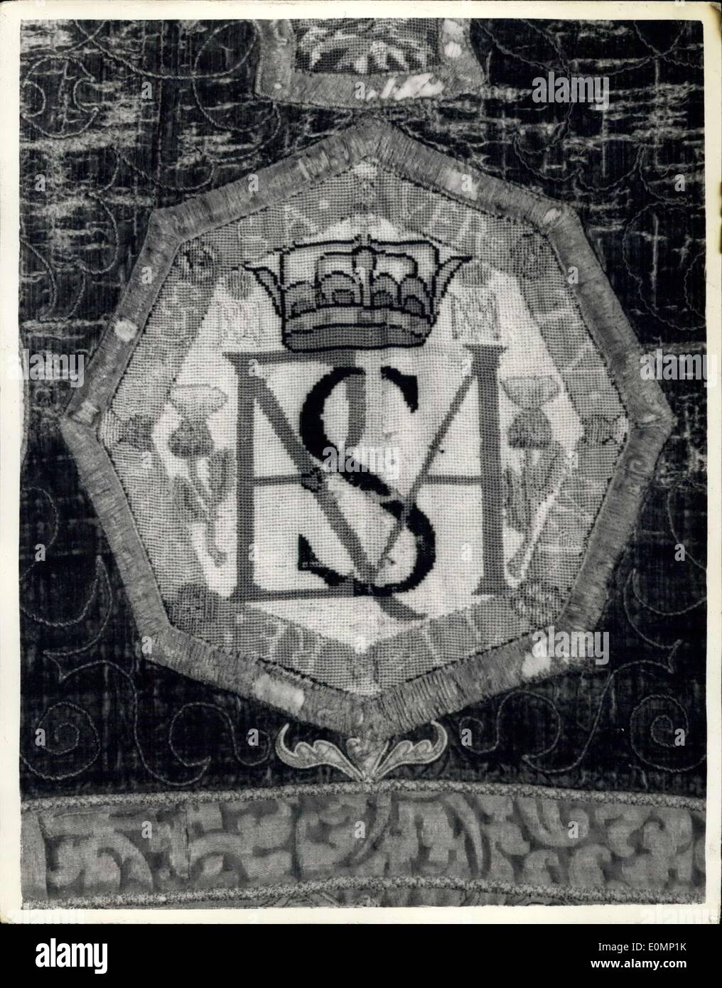 Jan. 17, 1956 - Needlework of Mary, Queen of Scots On Display.. The Oxburgh Hangings.. The Oxburgh hangings - presented to the Victoria and Albert Museum by the National Art Collections Fund in 1953 - have been undergoing repair for the past two years - and are now on display at the Museum. The hangings are the work of Mary, Queen of Scots - and Elizabeth, Countess of Shrewsbury (Bess of Hardwick) - done while the Queen was the custody of the Earl of Shrewsbury at Tutbury Castle.. (1569). - Stock Image