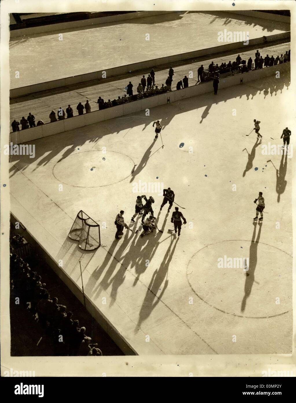 Jan. 30, 1956 - Winter Olympics At Cortina. Sunshine And Shadow On The Ice Rink. Photo shows Attractive sunshine and shadow study during the Ice Hockey match between the Unite States and Poland - during the Winter Olympic Games at Cortina. USA won 4 - 0. - Stock Image