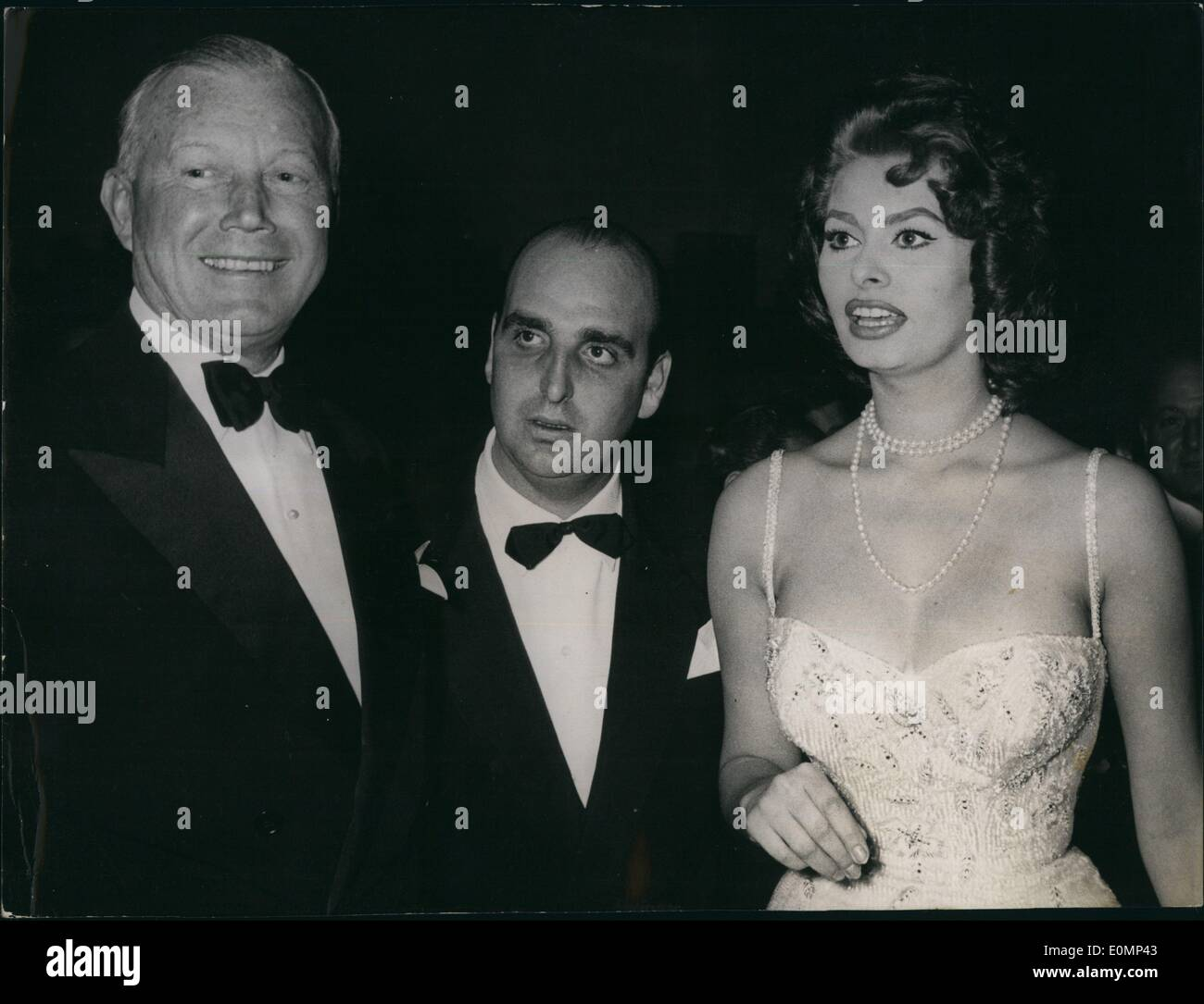 Feb. 02, 1956 - Pictured is famous actress Sofia Loren, who was the honored guest at a Gala evening held at the Miramonti Hotel - Stock Image
