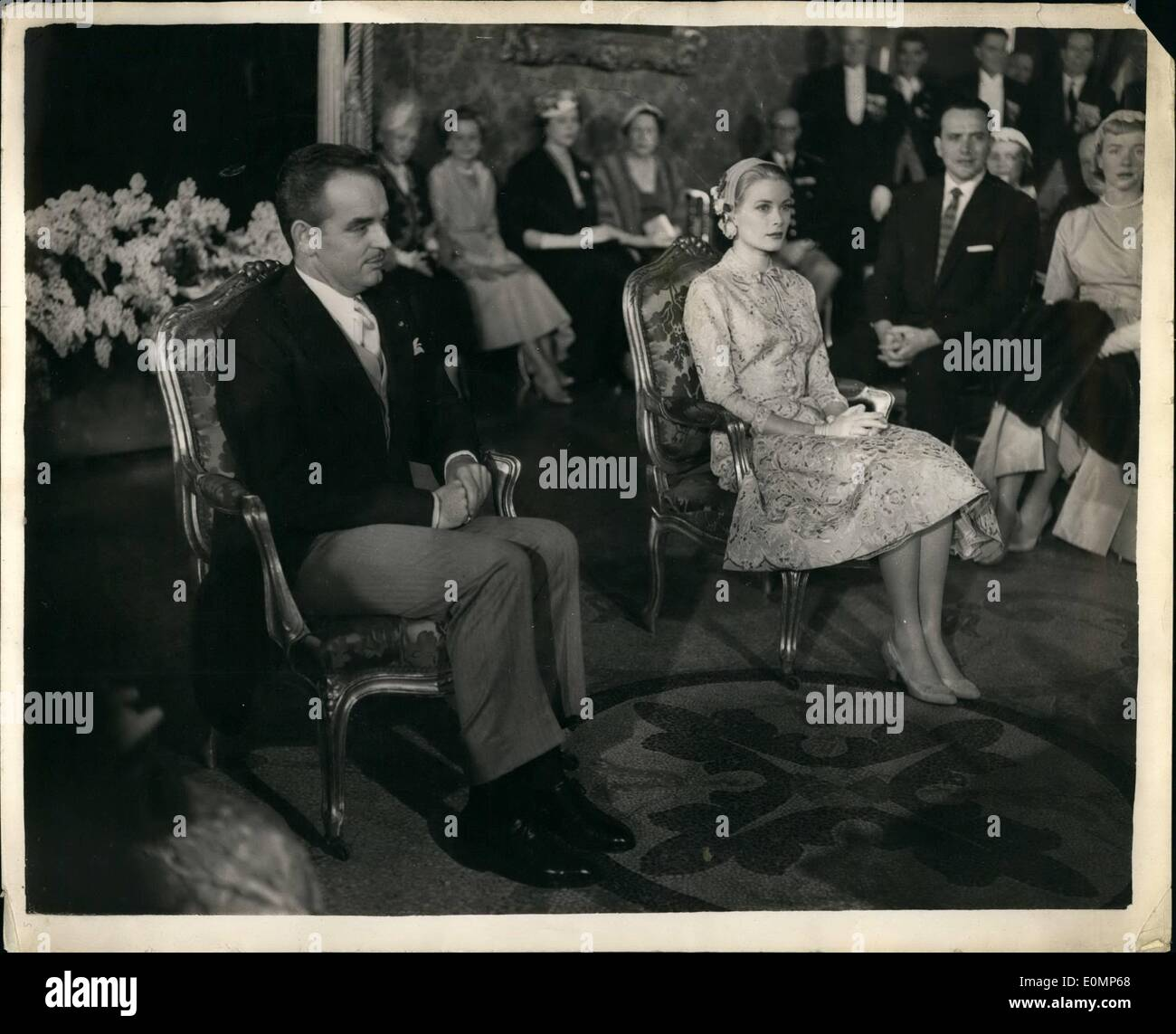 Apr. 04, 1956 - Grace Kelly marries prince Rainier Civil Ceramony at the Royal Palace. Photo shows The scene inside the Throne Room of the Royal Palace at Monte Carlo showing Grace Kelly and Prince Rainier before the signing of the documents during their Civil wedding ceremony today. - Stock Image
