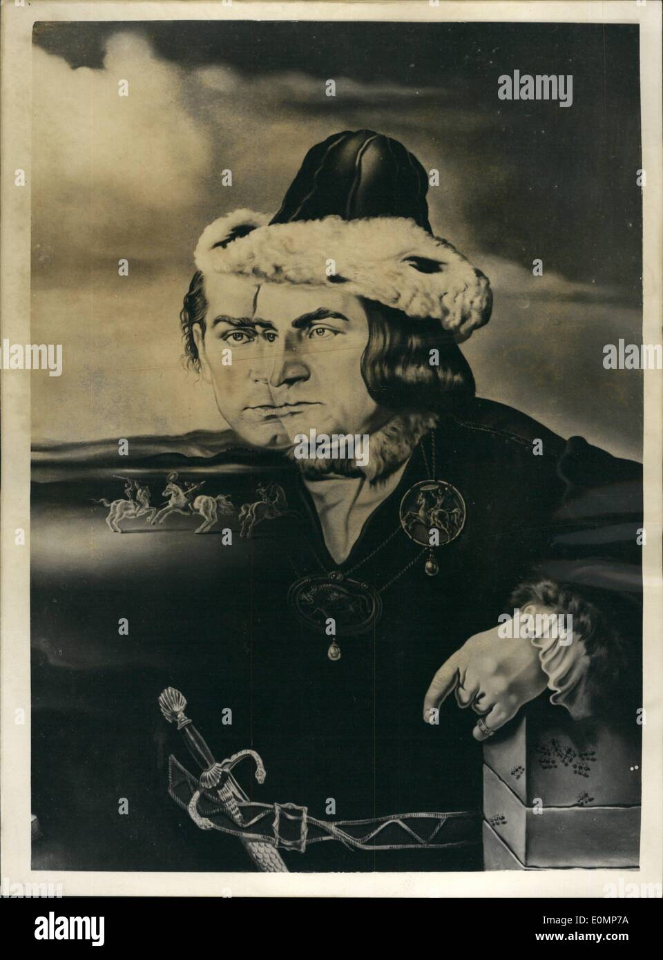 Apr. 04, 1956 - Olivier - by Dali: This is a black and white reproduction of the portrait in oils by Salvador Dali of Sir Laurence Olivier in his role of Richard II, the Laurence Olivier London Film. The portrait was commissioned by Mr. Robert Dowling of New York, and preliminary sketches were made during the filming of this production. The portrait was finally completed Salvador Dali's residence in Spain. Stock Photo
