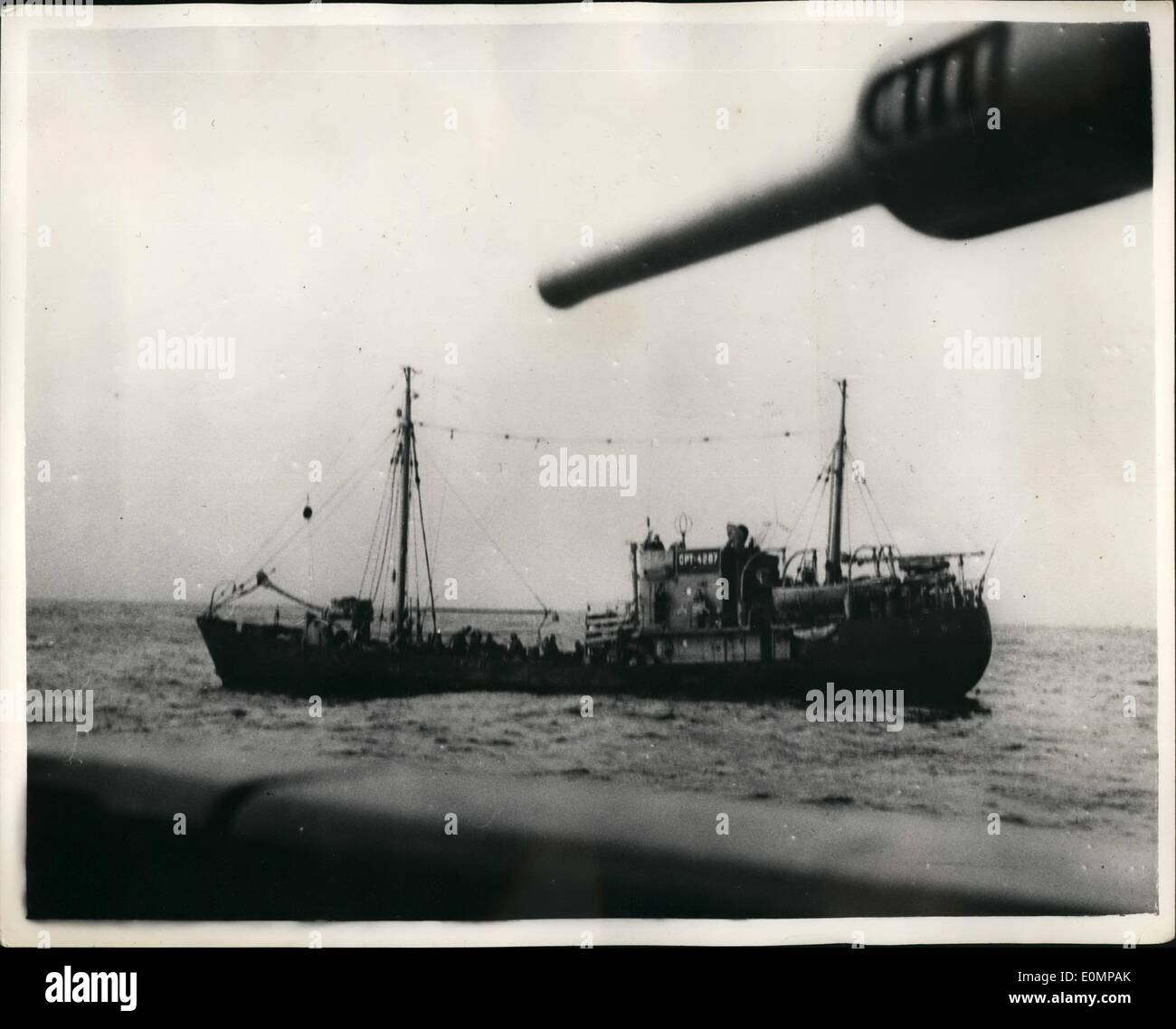 Feb. 02, 1956 - Norwegian Navy Holds Soviet Fishing Trawlers, Poaching in Territorial Waters. M.T.B's and other vessels of the Norwegian Navy have seized four Russian fishing trawlers and a 10,000 ton depot ship said to have been poaching in Norway's territorial waters. Norwegian sailors had to fire warning shots with rifles and revolvers to force the trawlers to heave it. Keystone Photo shows: One of the Soviet Fishing Trawlers after it had been arrested by Norwegian M.T.B's. - Stock Image