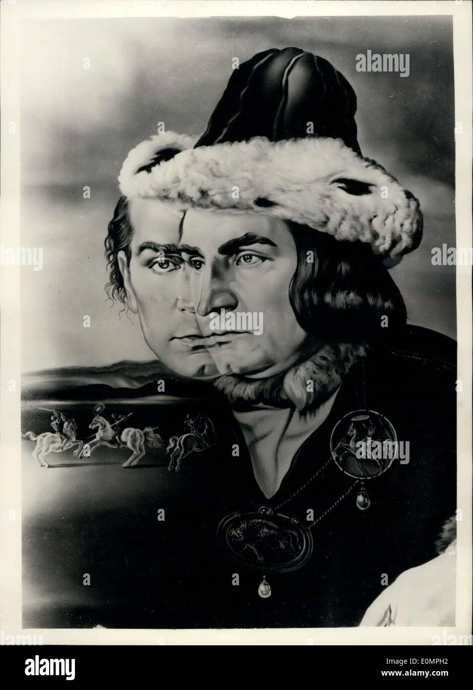 Apr. 10, 1956 - Olivier - By Dali : This is a black and white reproduction of the portrait in oils by Salvador Dall of Sir Laurence Olivier in his role of Richard III, the Laurence Olivier London film. The portrait was commissioned by Mr. Robert Dowling of new york, and preliminary sketches were made during the filming of this production. The portrait was finally completed Salvador Dali's residence to Spain. Stock Photo
