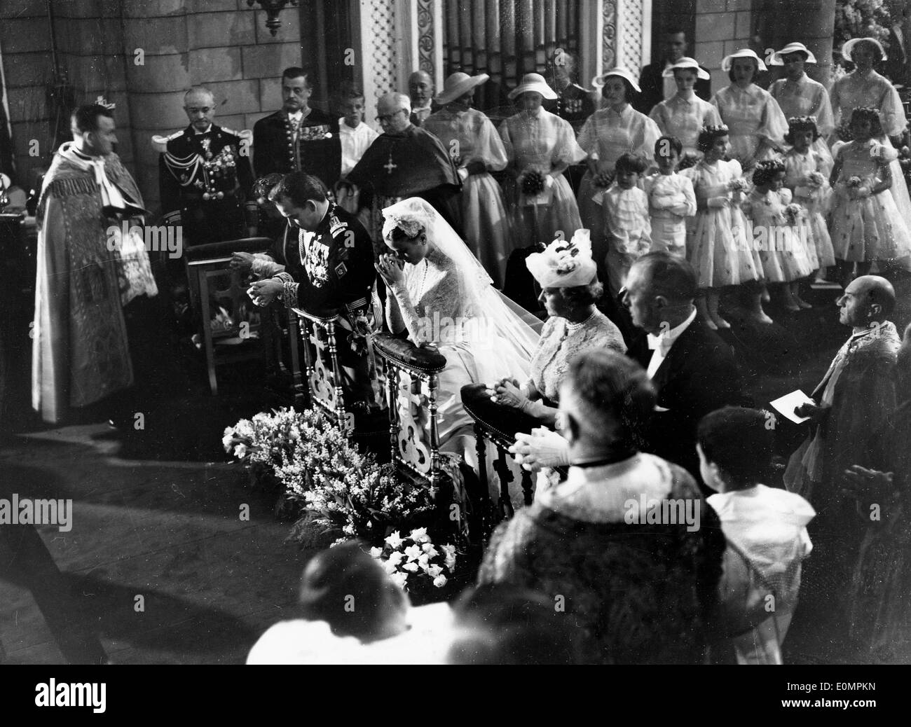 Prince Rainier and his wife Grace Kelly's wedding ceremony - Stock Image