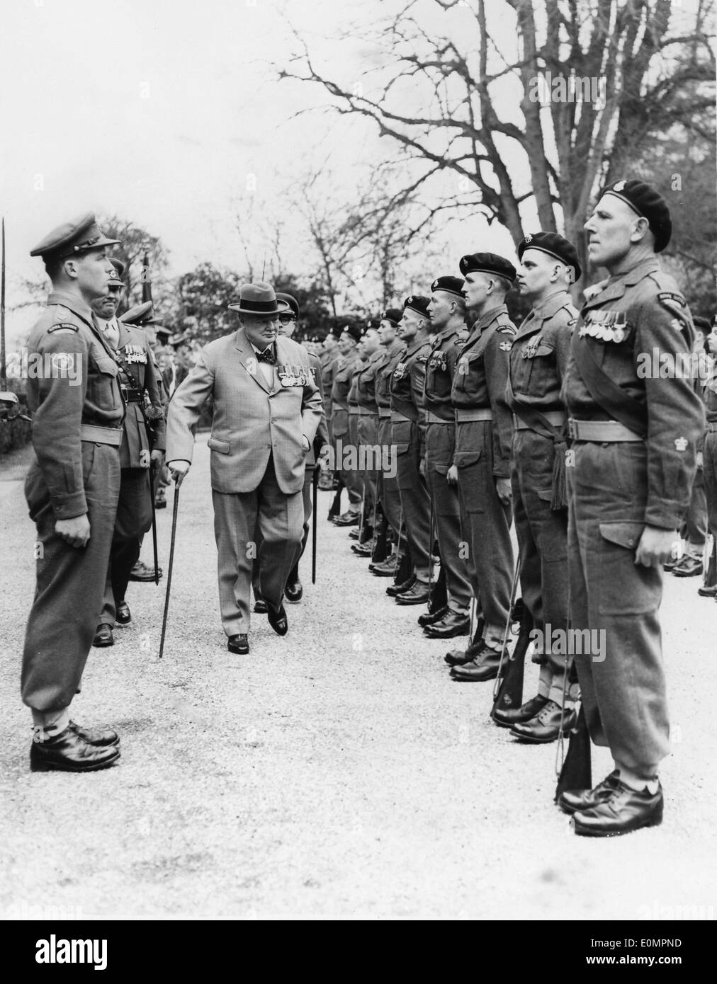 Sir Winston Churchill inspects the Battalion of Chartwell - Stock Image