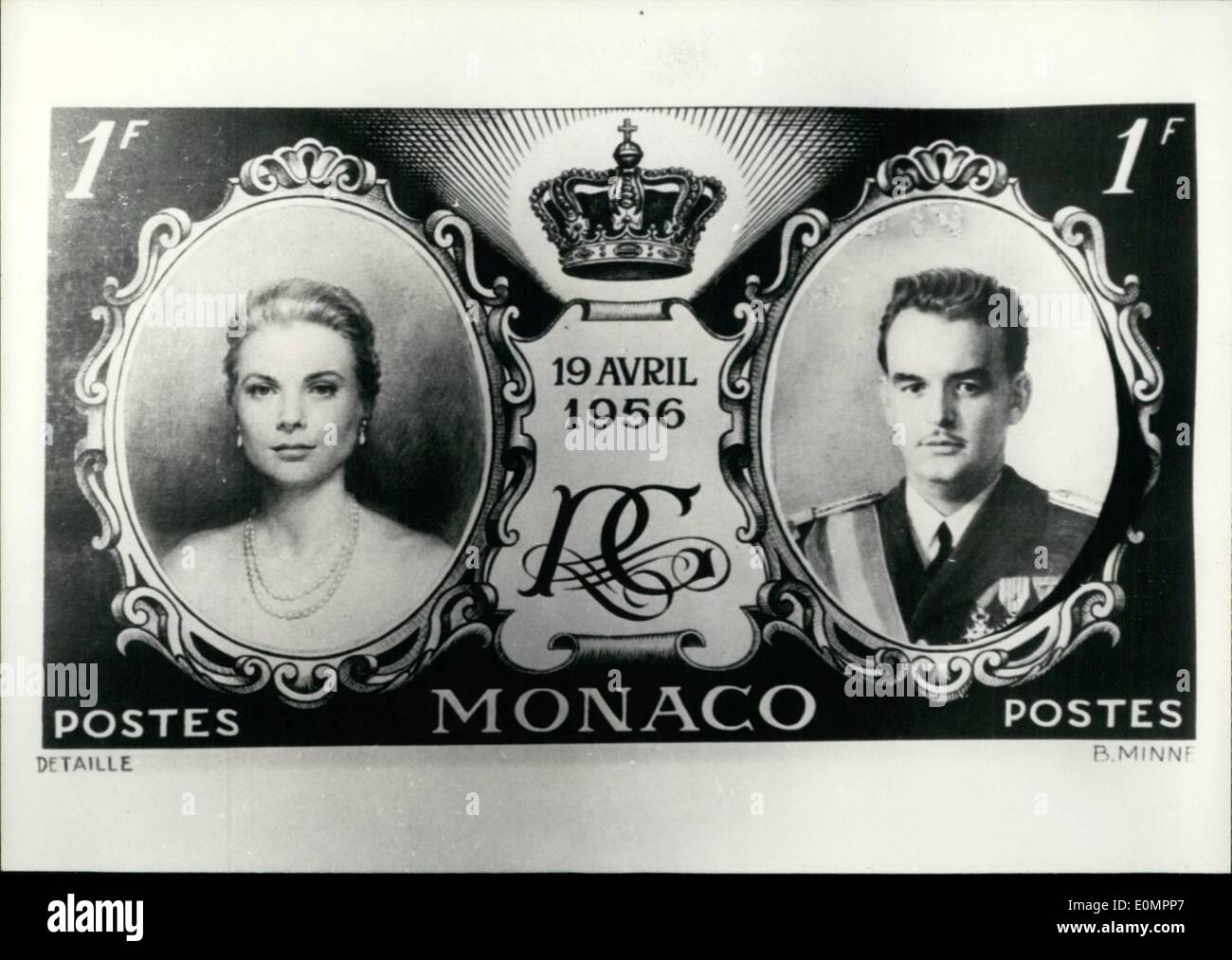 Feb. 02, 1956 - Monaco To Issue ''Wedding'' Stamp: A special stamp will be issued by the Monaco post on the occasion of the wedding of Prince Rainier and Grace Kelly February 19th. Photo shows a model of the stamp. - Stock Image