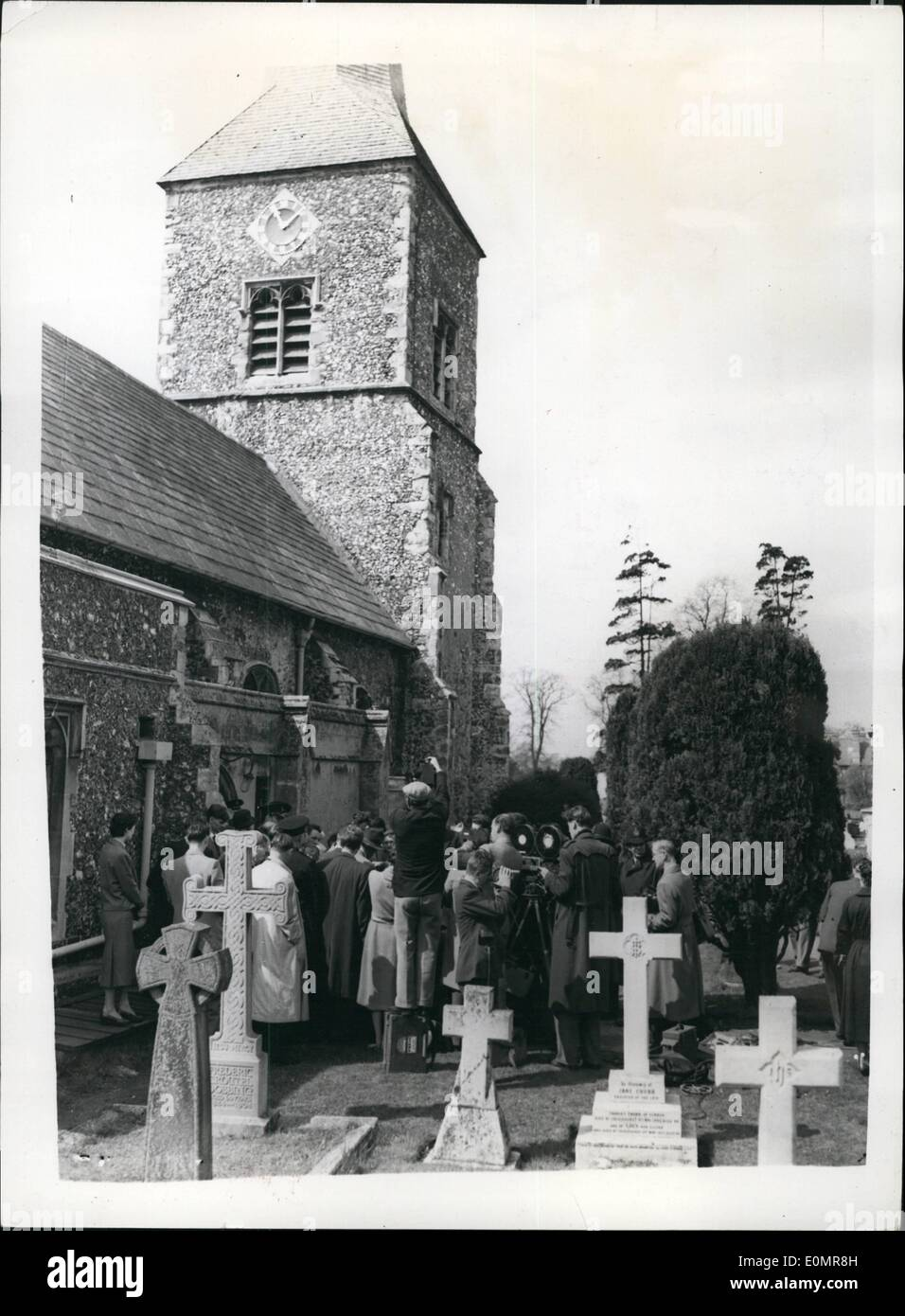 May 05, 1956 - Fifteenth Century Tomb Opened At Chislehurst.. May Prove Theory On Shakespeare Plays: Workmen opened the fiteenth century tomb of Sir Thomas Walsingham in St. Nicholas Church, Chislehust, today - in search of evidence to support the theory that Christopher Marlowe wrote the Shakespeare plays. Permission was granted to Mr. Calvin Hoffman an America critic for the opening of the tomb. Mr. Hoffman hopes to find manuscripts which would prove his theory. Photo Shows: General view of the scene at ST. Nicholas Church, Chislehurst - as the opening of the tomb progressed today. - Stock Image