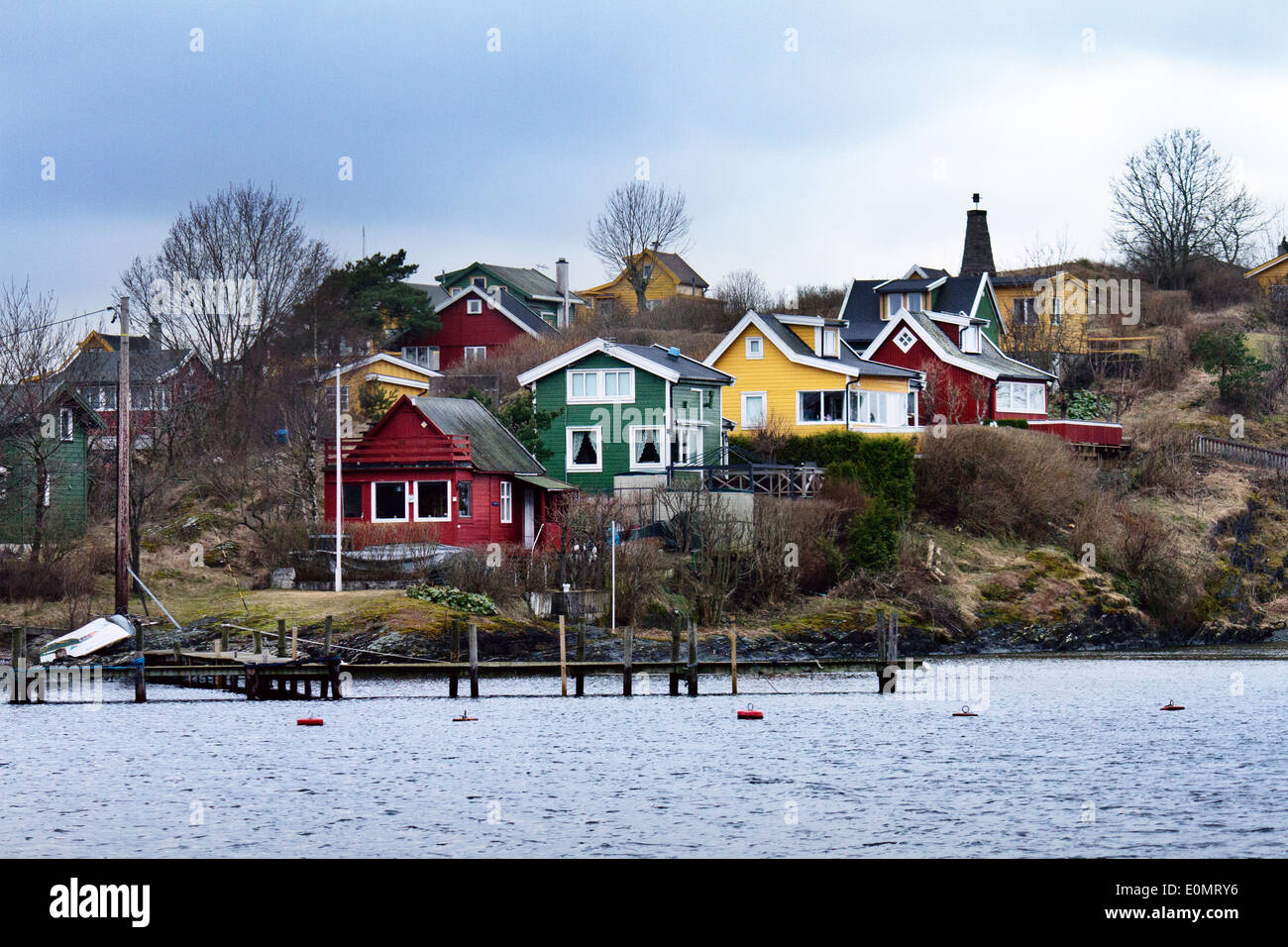 Europe; Norway; Oslo; Winter; Sea; Archipelago; house; coloured houses; lifestyle; wood; land; panorama; tipycal; Stock Photo