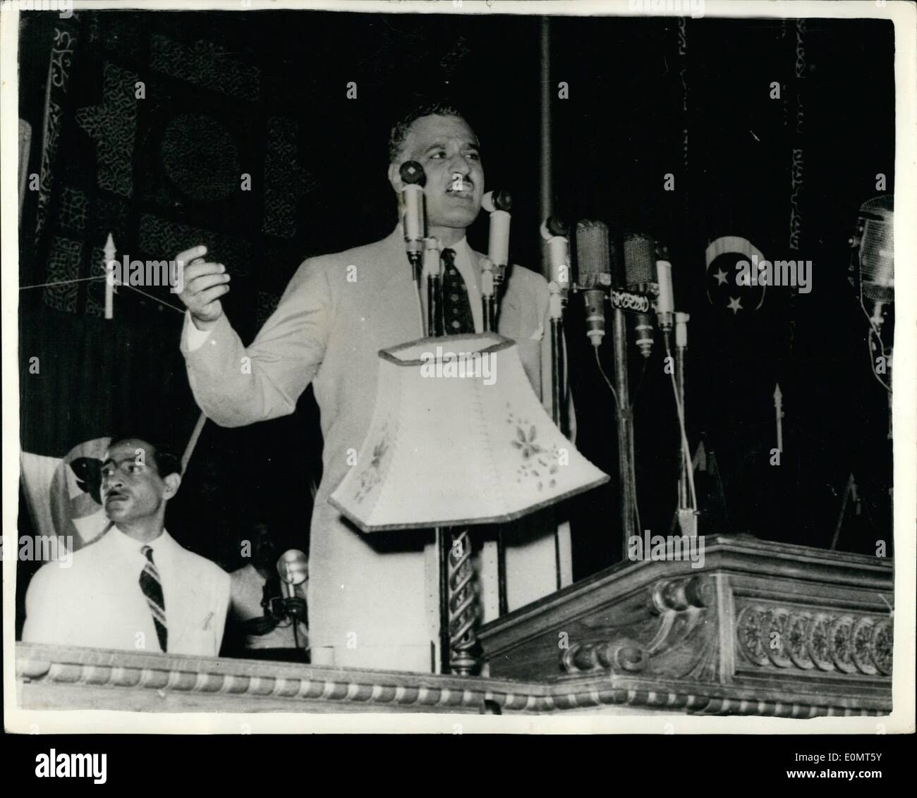 Jun. 06, 1956 - Prime Minister Gamal Nasser terminates Martial Law throughout Egypt: Prime Minister Gamal Nasser - Stock Image