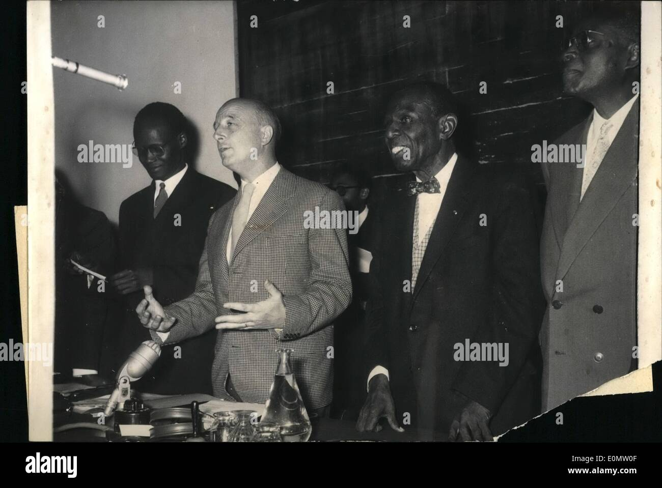 Sep. 09, 1956 - Black Writers and Artist's Congress opens in Paris: The first congress of Black Writers and Artists from overseas opened at Sorbonne University in Paris this morning. Photo shows M.Huebrt Sechamps (center), Governor of Madagascar , making the opening speech, on left N. Alioune Diop; on right, M. Price Mars, Chairman of the Congress. - Stock Image