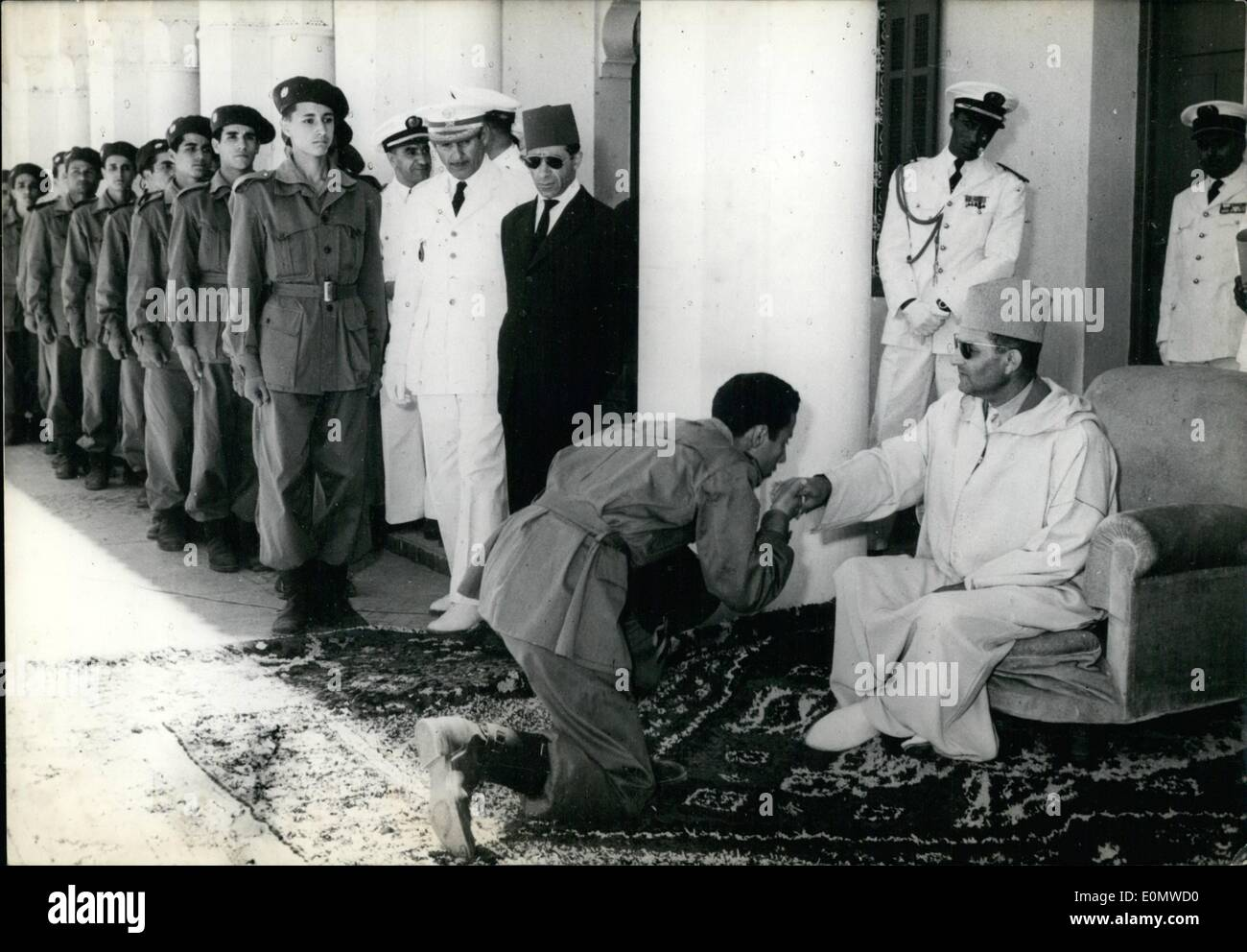 Sep. 09, 1956 - 220 young students-officers, who will be attending several Spanish military academies, gave their oaths to Sultan Ben Youssef, after having been introduced to him. Felue Band, Fine Arts School's Best, & Composer Claude Blondy - Stock Image