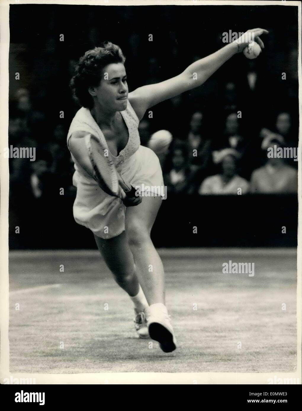 Jul. 07, 1956 - Wimbledon Tennis championship.Shirley Bloomer in Play. Photo Shows Miss Shirley Bloomer of great Britain in play during the match with American's Louise Broughat Wimbledon this afternoon. - Stock Image