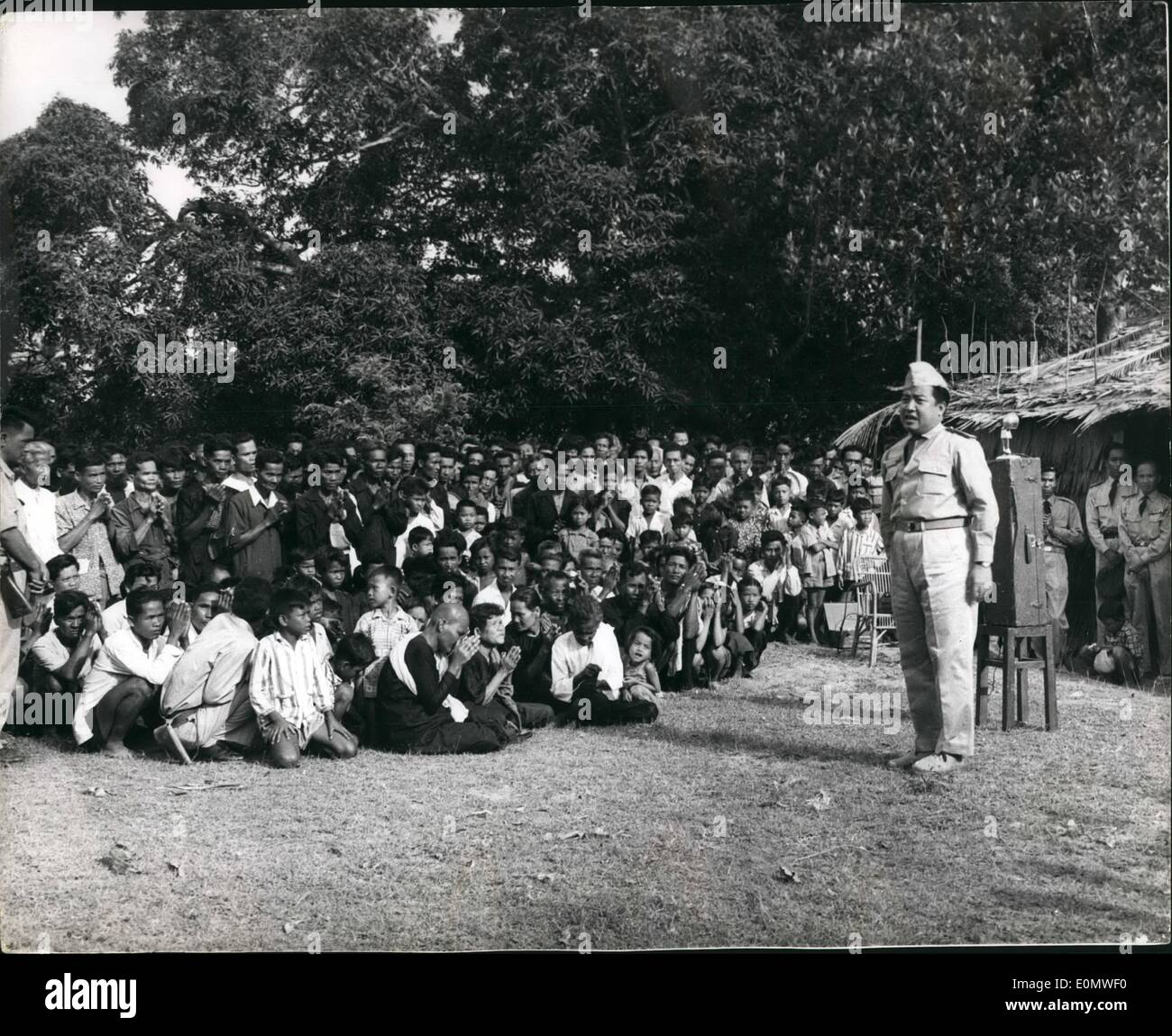 Jul. 07, 1956 - Cambodia Recognises Peking Government: At he hamlet of Chraneang Te about 10 Km from the frontier of South Vietnam, Prince Norodom Sihanouk the Prime Minister of Cambodia recently announce that his government had decided to recognizes de jure (Legally) - the Peking Government. The Prince was addressing an audience - mainly of peasants - when he visited the hamlet to inaugrate his ''water policy'' - intended to promote the construction of dams - wells - reservoirs etc. the country - to ensure water supplies for irrigation etc. during the dry season - Stock Image